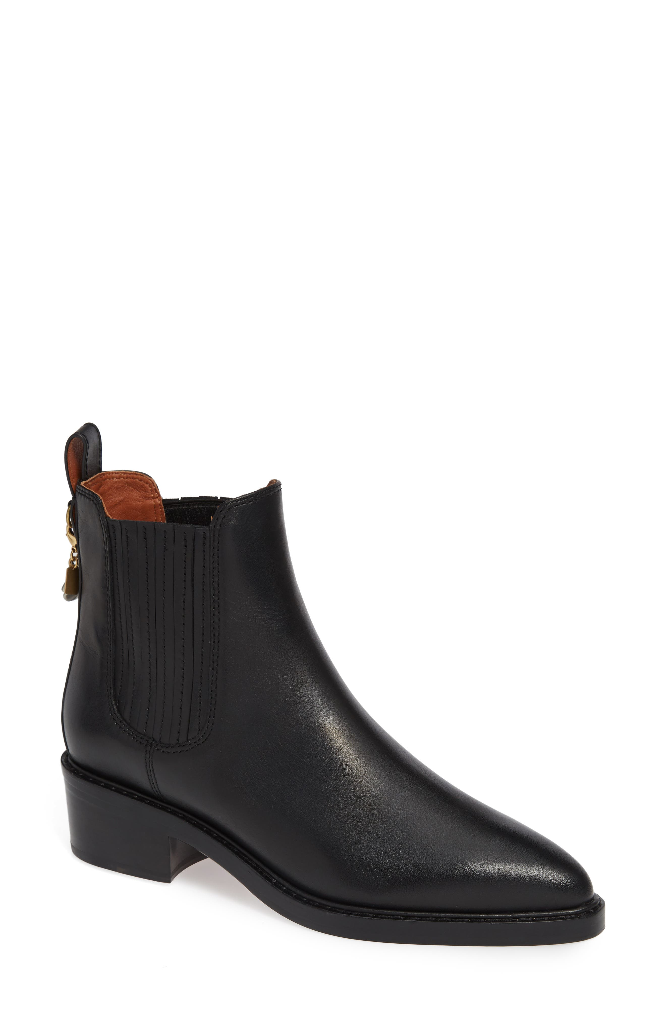 Bowery Chelsea Bootie,                             Main thumbnail 1, color,                             BLACK LEATHER