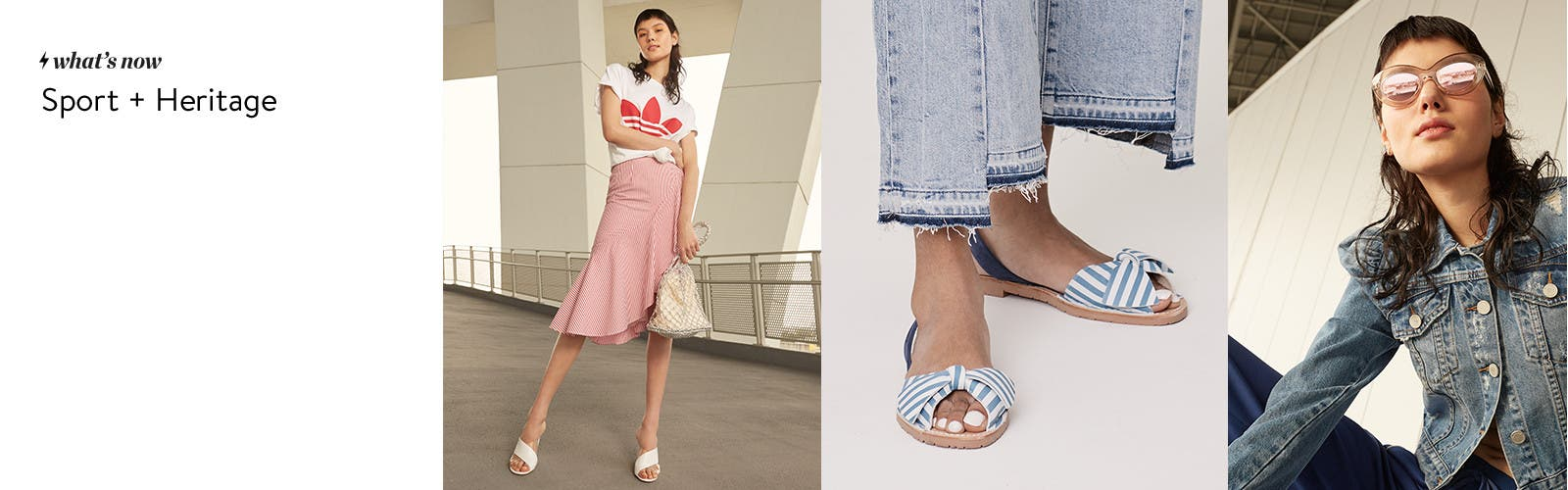 Sport plus heritage: Topshop and trend clothing, shoes, handbags and accessories.