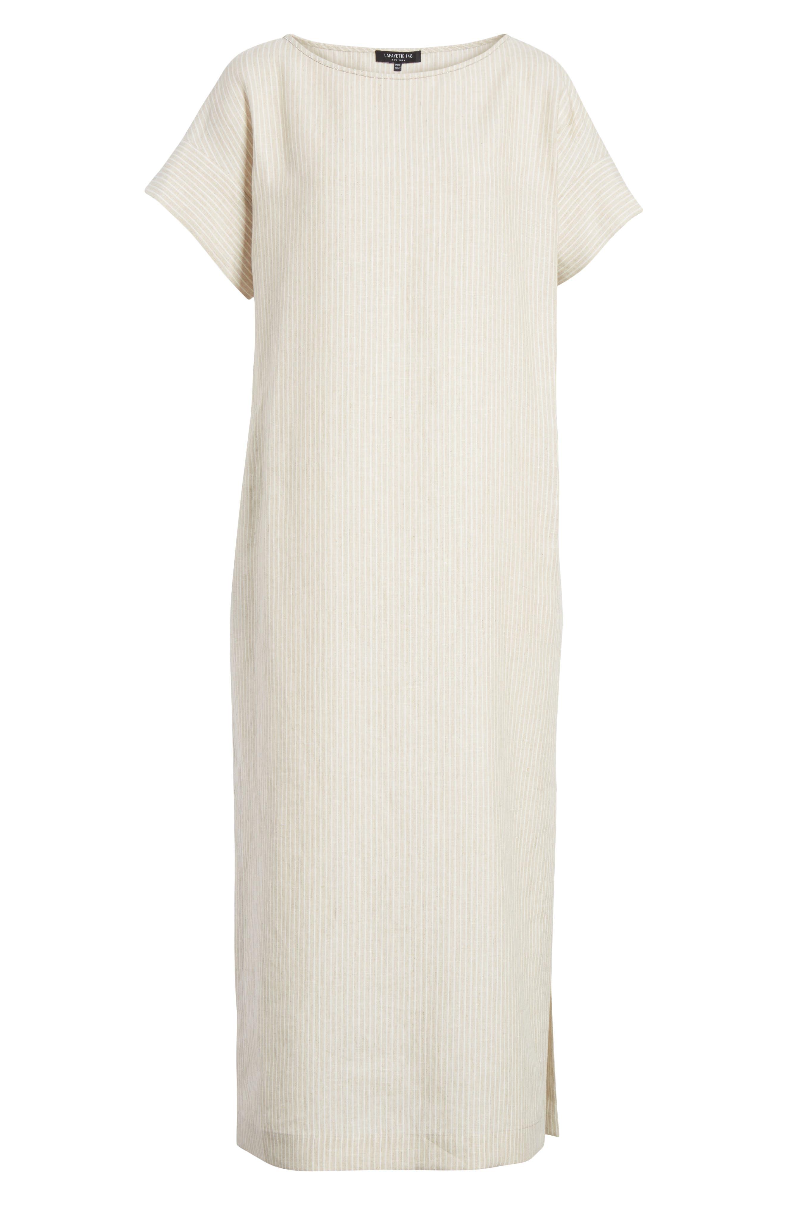 LAFAYETTE 148 NEW YORK,                             Emiline Stripe Linen Dress,                             Alternate thumbnail 6, color,                             251