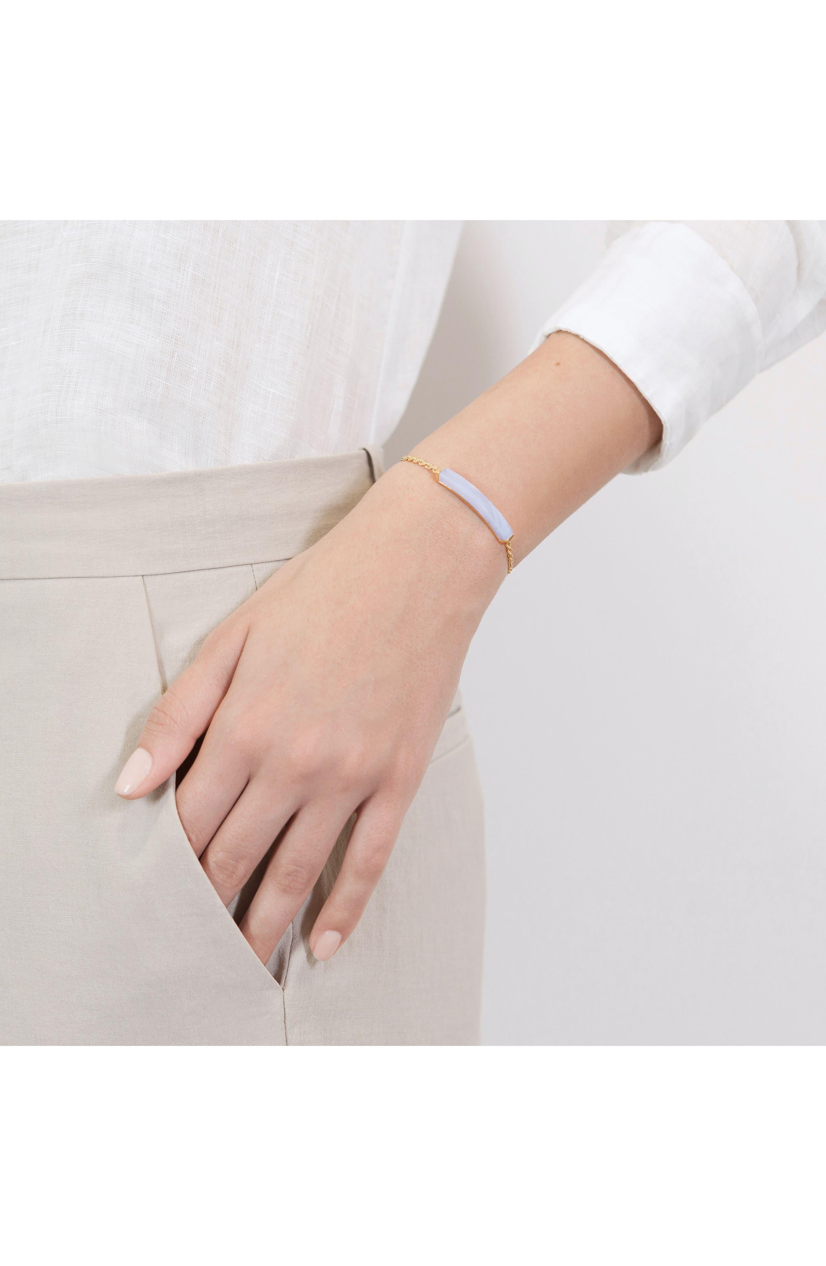 Linear Semiprecious Stone Friendship Bracelet,                             Alternate thumbnail 2, color,                             GOLD/ BLUE LACE AGATE