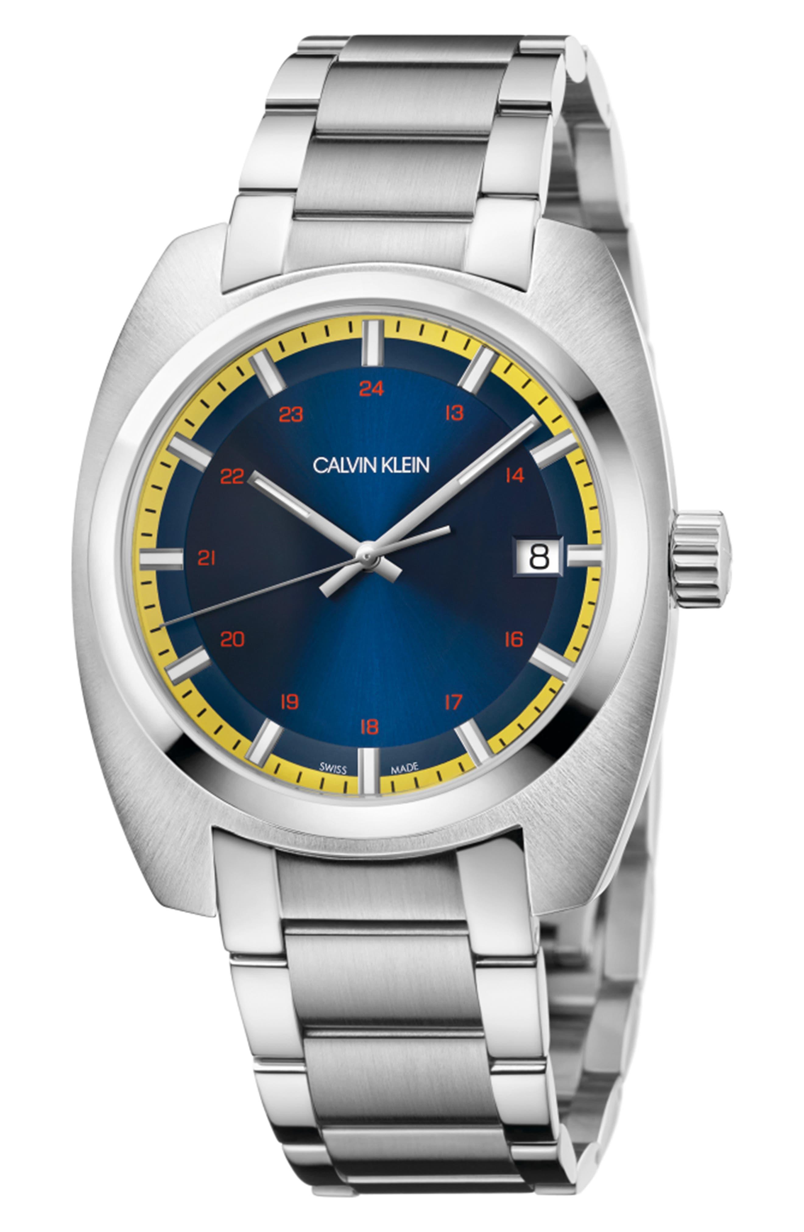 Achieve Bracelet Watch, 43mm,                             Main thumbnail 1, color,                             SILVER/ BLUE/ SILVER