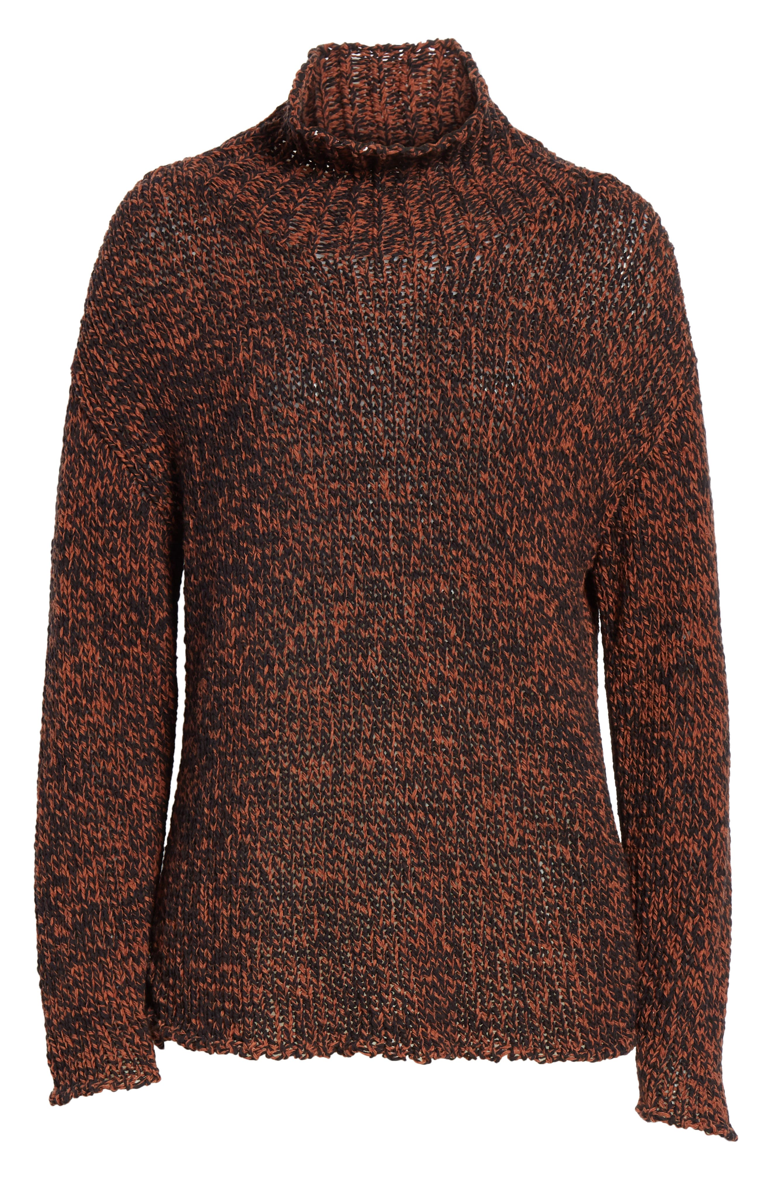 Marled Organic Cotton Blend Sweater,                             Alternate thumbnail 6, color,                             NUTMEG