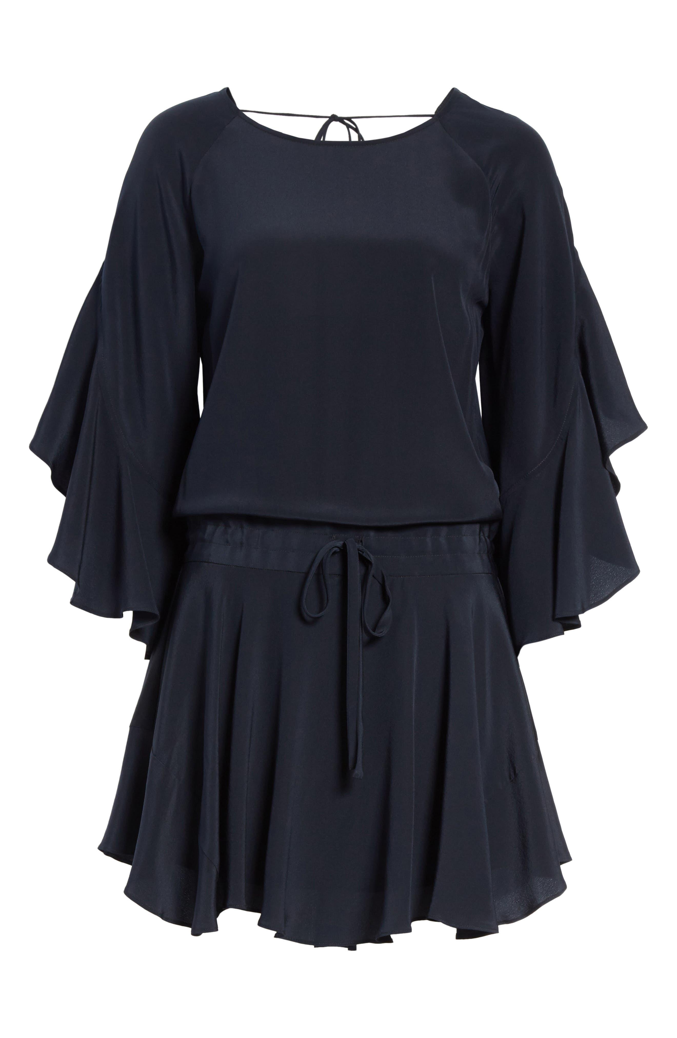 Cannon Flutter Sleeve Silk Dress,                             Alternate thumbnail 6, color,                             401