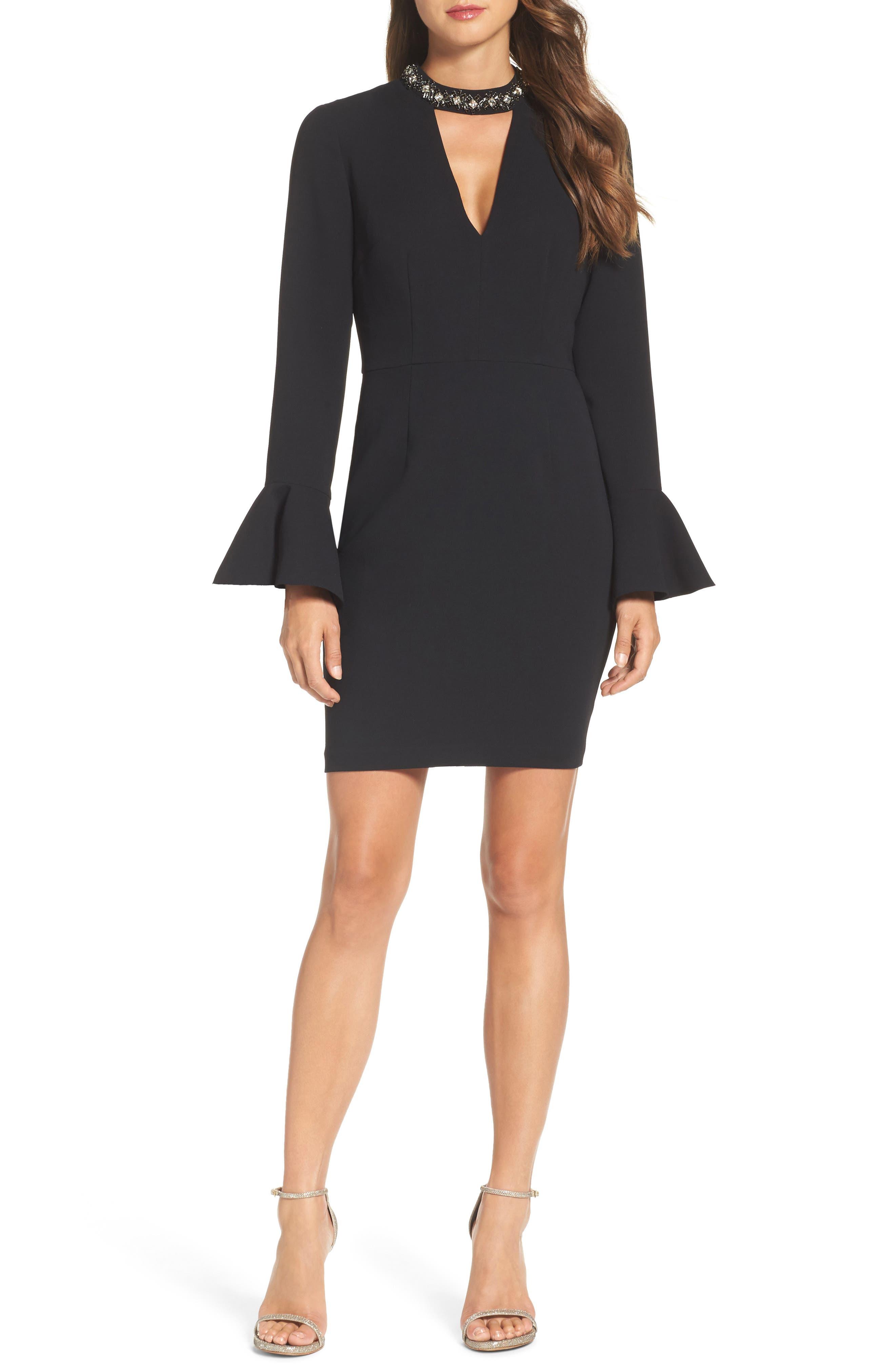 Crystal Choker Bell Sleeve Sheath Dress,                             Main thumbnail 1, color,