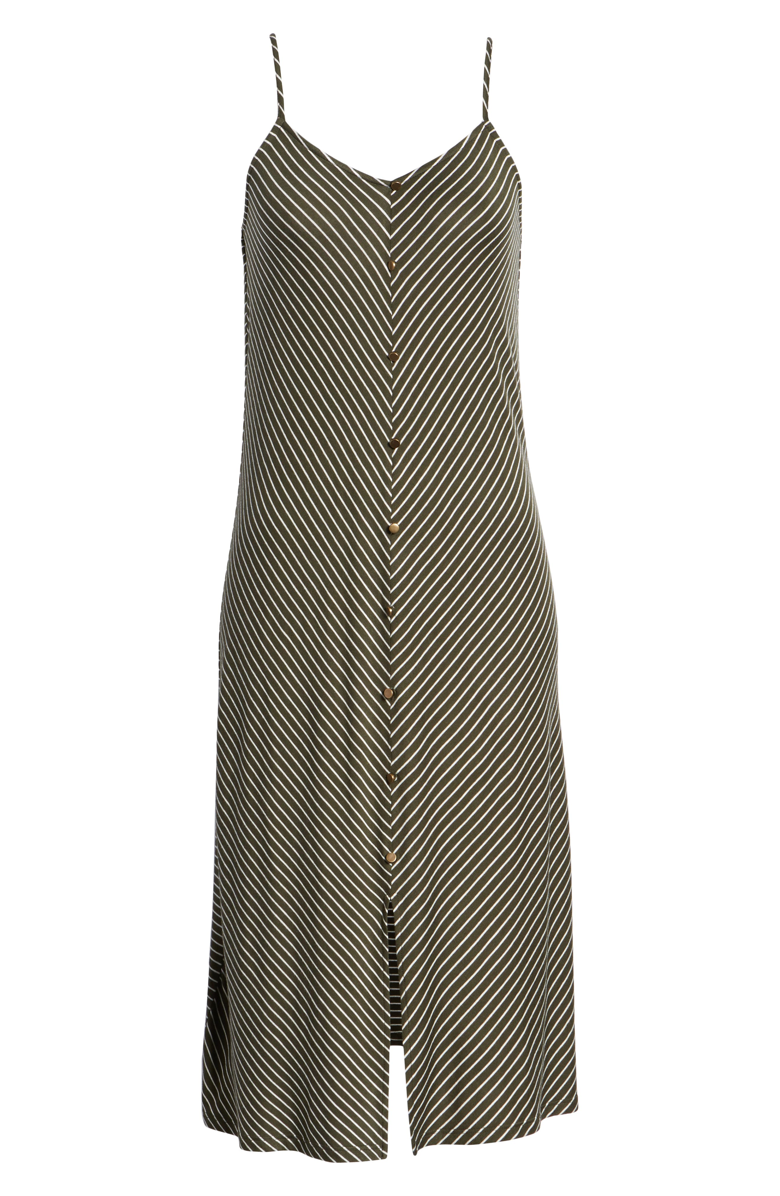 Chevron Stripe Midi Dress,                             Alternate thumbnail 7, color,                             OLIVE/IVORY