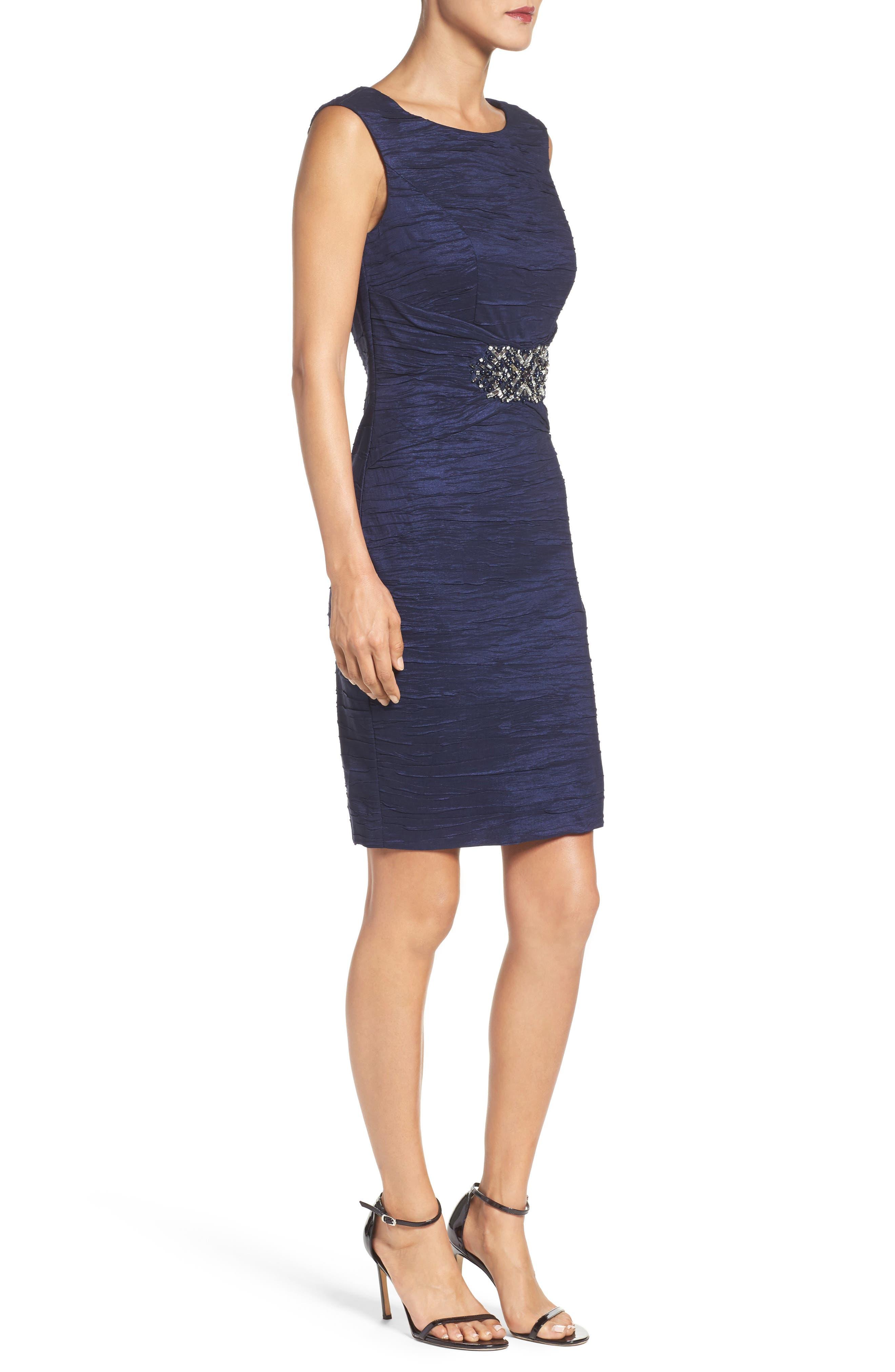 Embellished Taffeta Sheath Dress,                             Alternate thumbnail 8, color,