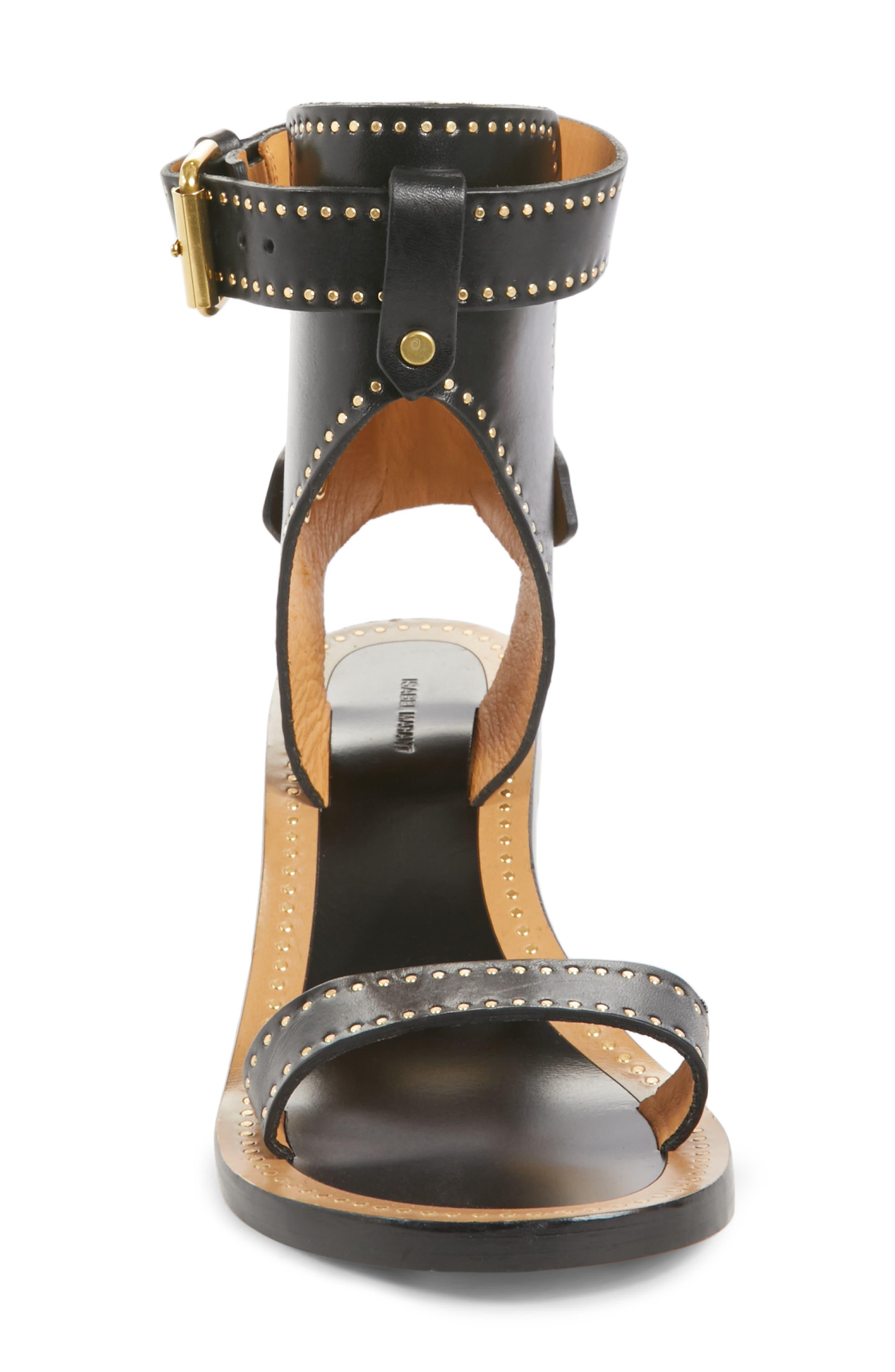 Jaeryn Studded Ankle Strap Sandal,                             Alternate thumbnail 4, color,                             BLACK LEATHER