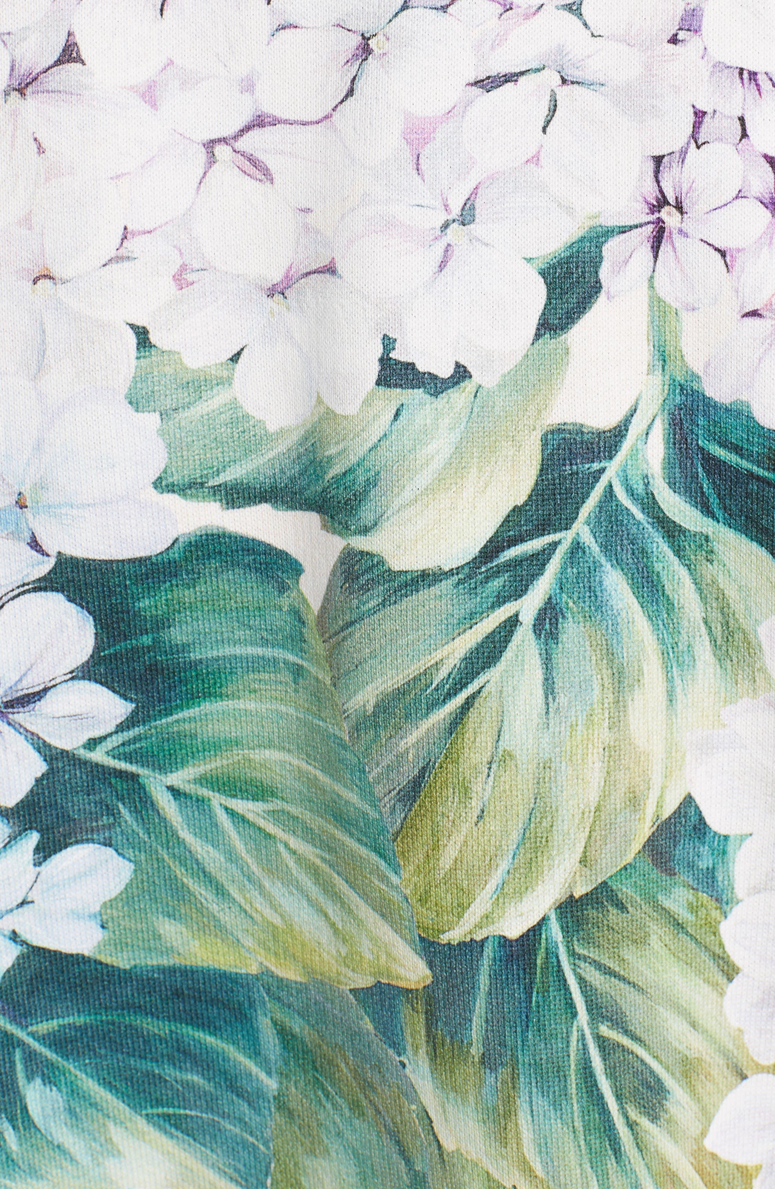 Hydrangea Print Sweatshirt,                             Alternate thumbnail 5, color,                             301