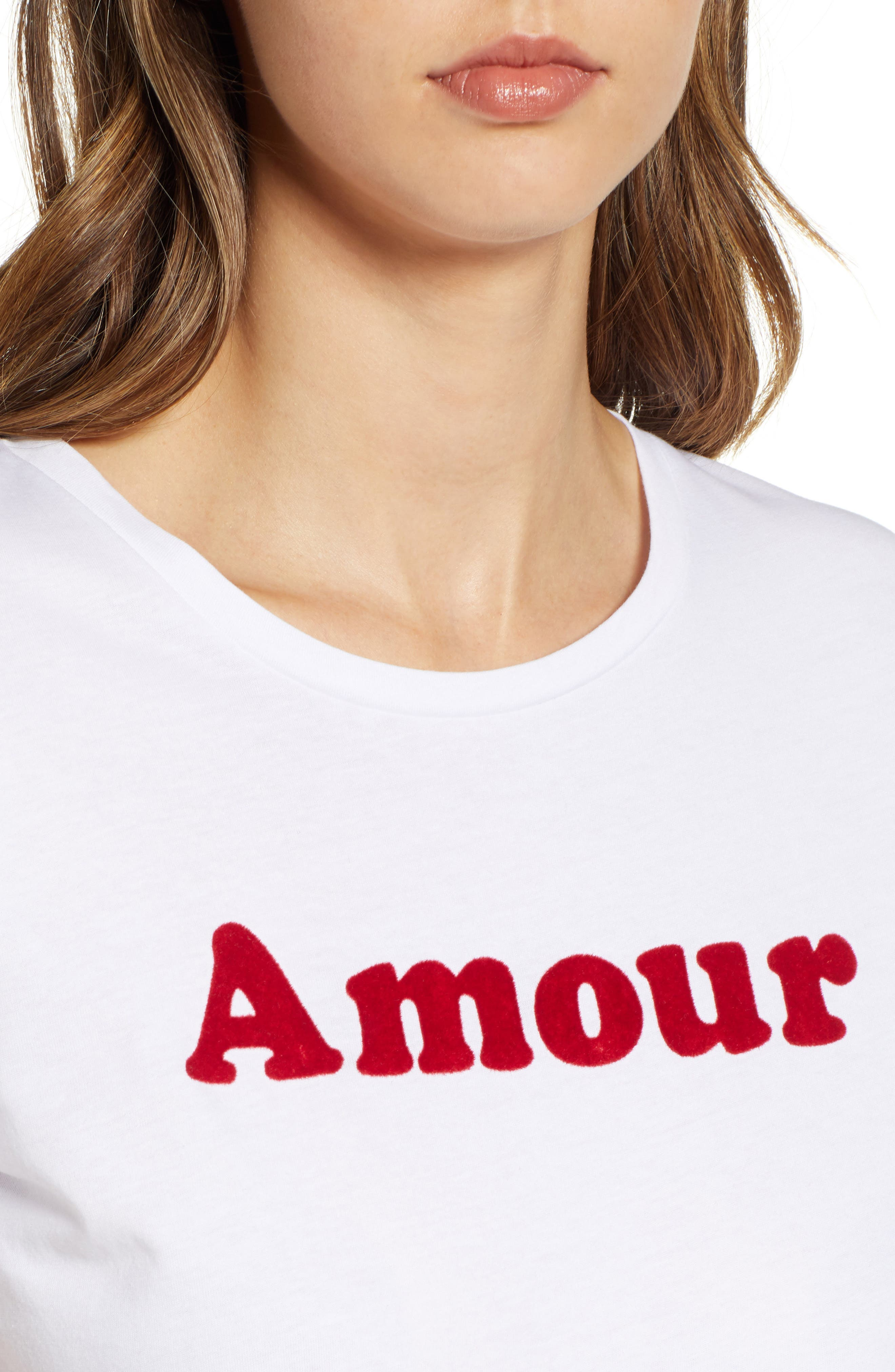 Amour Graphic Tee,                             Alternate thumbnail 4, color,                             WHITE