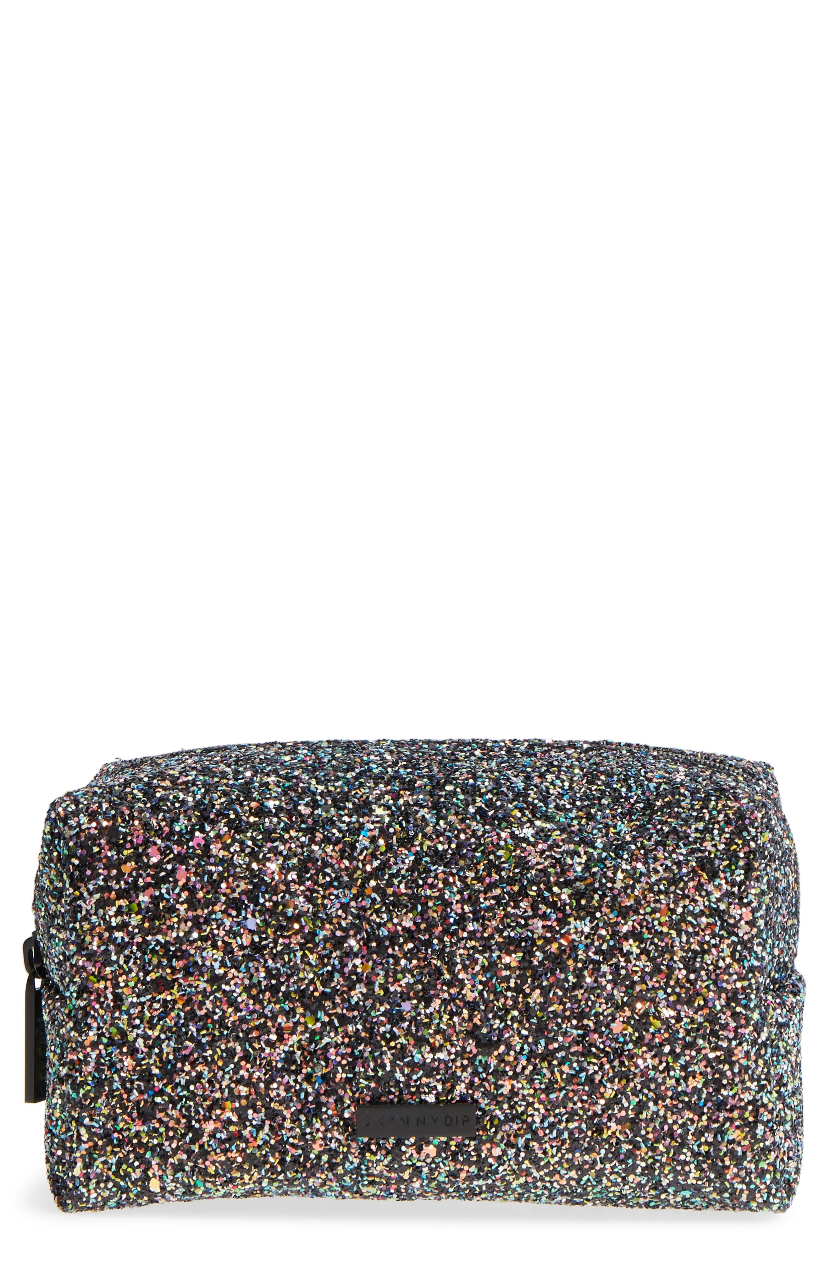 Skinny Dip Liquorice Glitter Cosmetics Bag,                             Main thumbnail 1, color,                             000