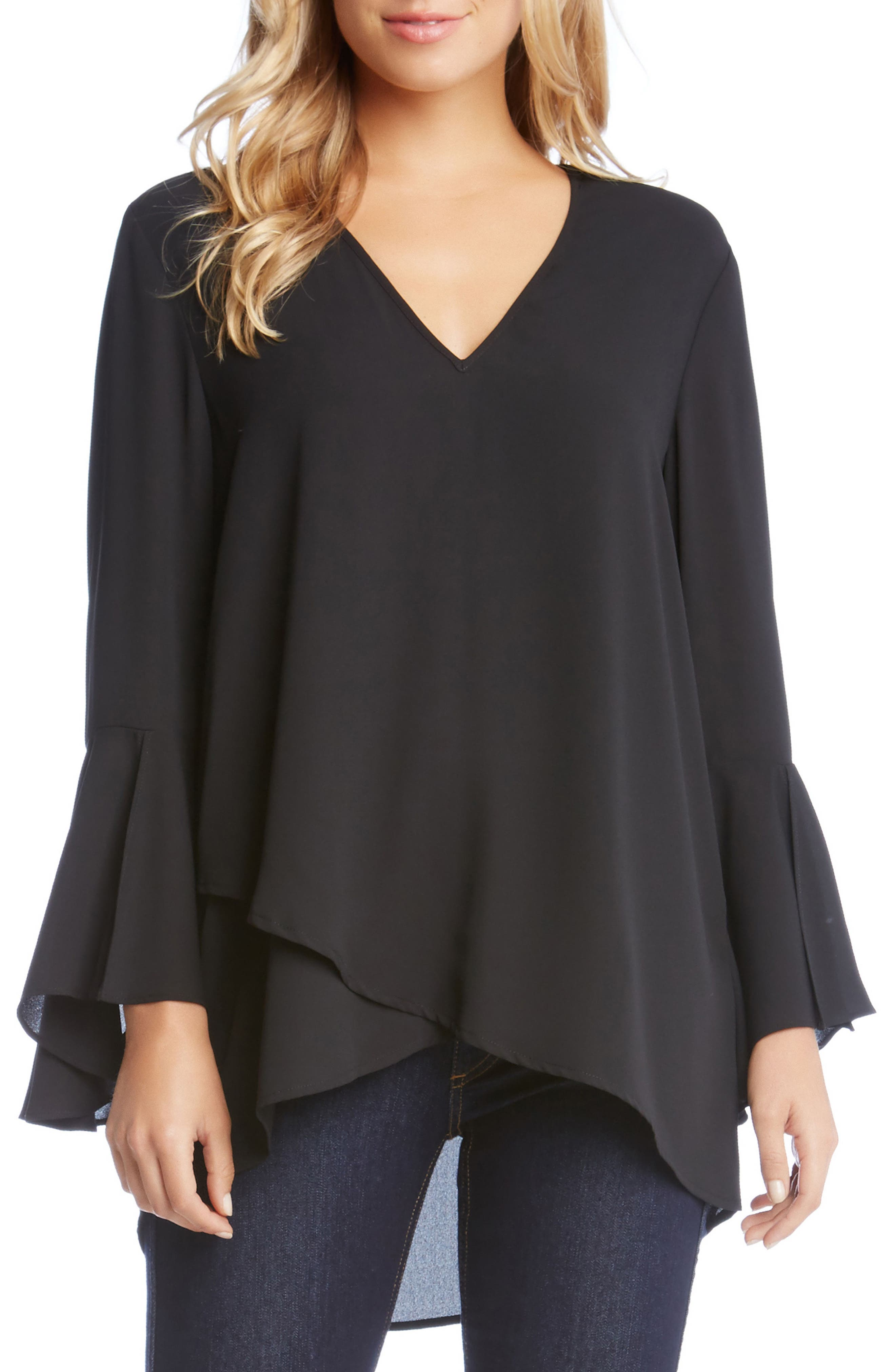 Slit Sleeve High/Low Top,                             Main thumbnail 1, color,                             001