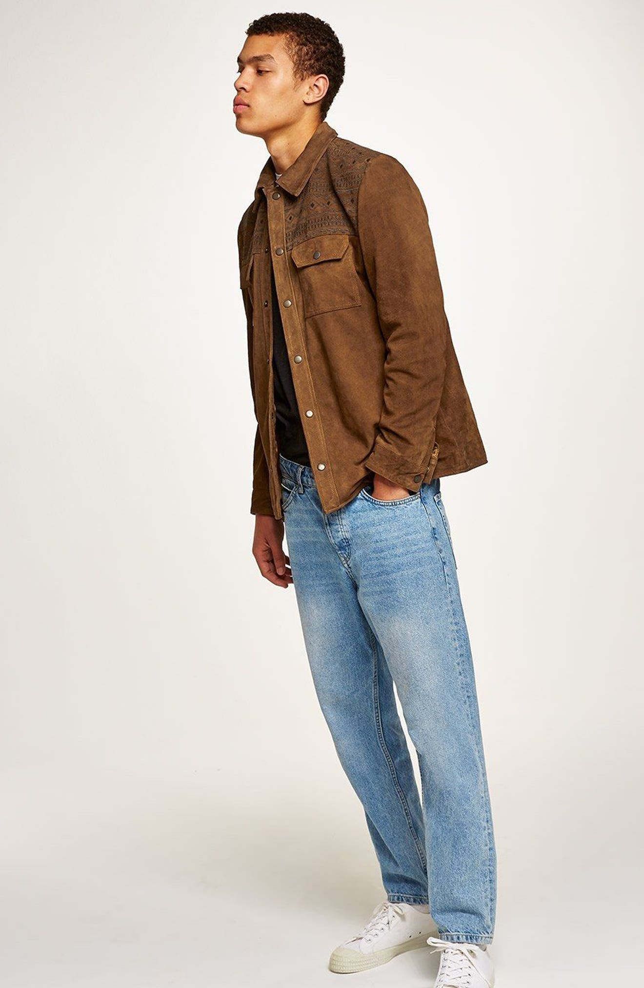 Embroidered Suede Jacket,                             Alternate thumbnail 5, color,