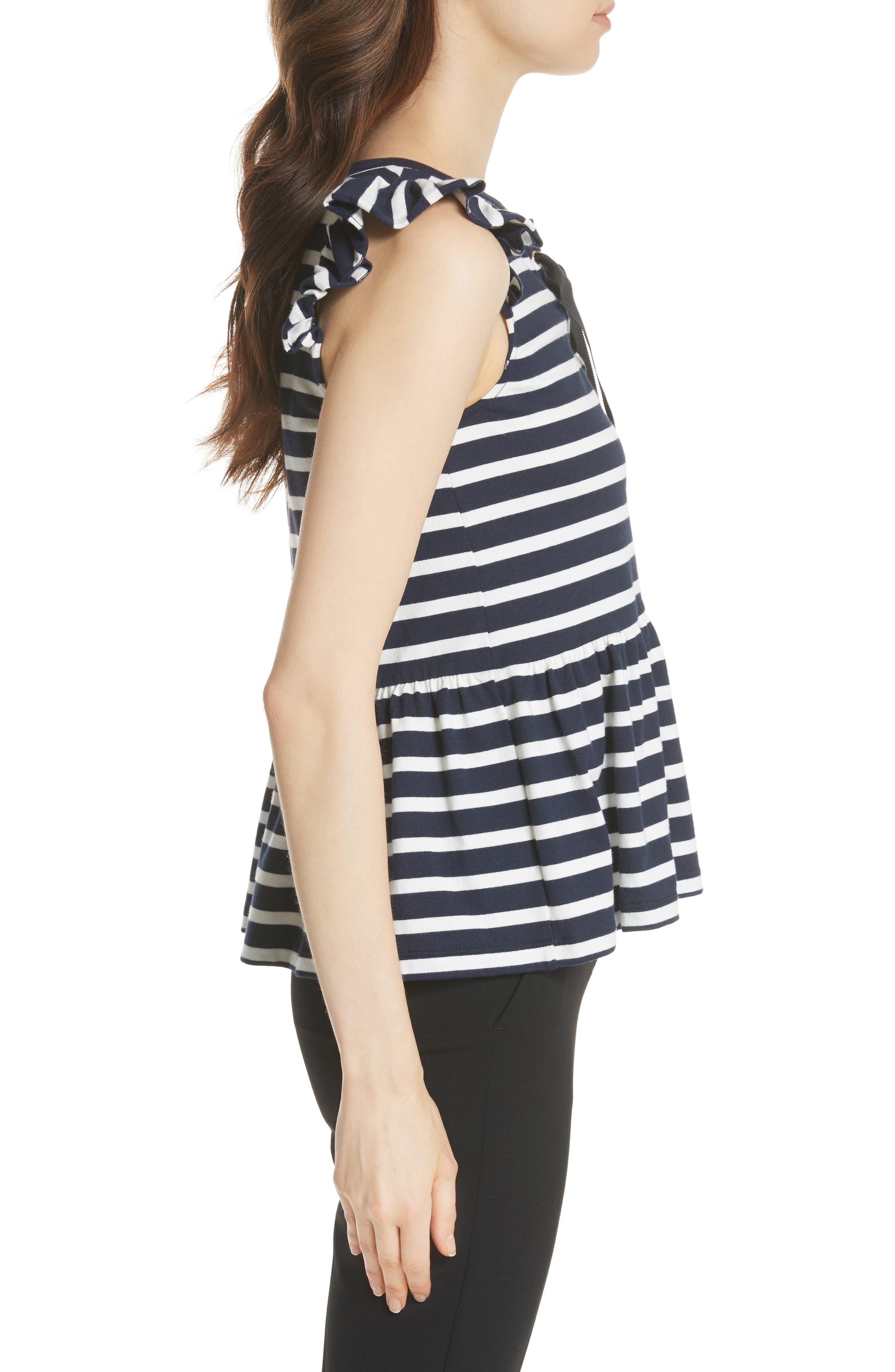 lace-up stripe tee,                             Alternate thumbnail 3, color,