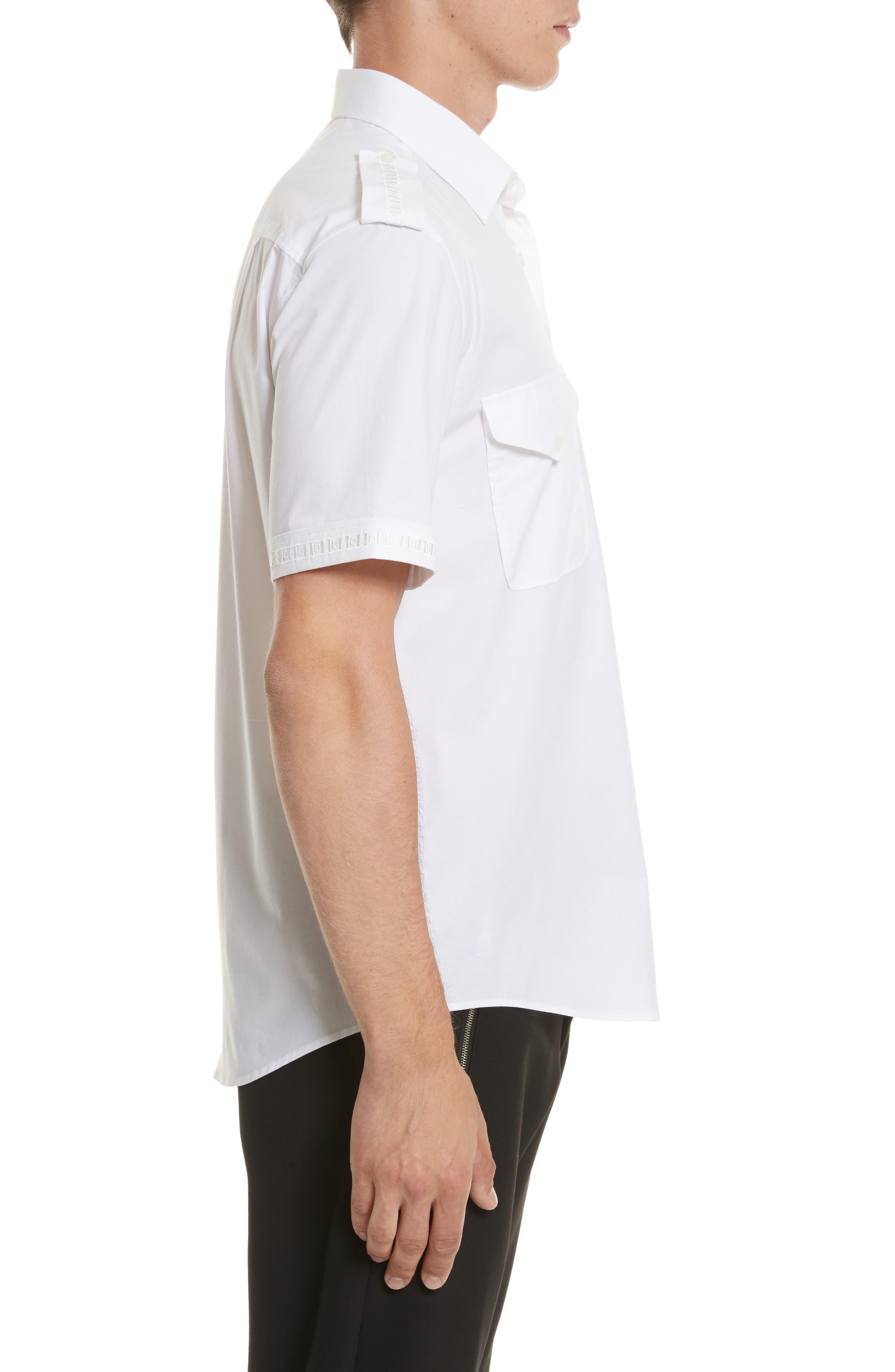 Short Sleeve Military Shirt,                             Alternate thumbnail 3, color,                             100
