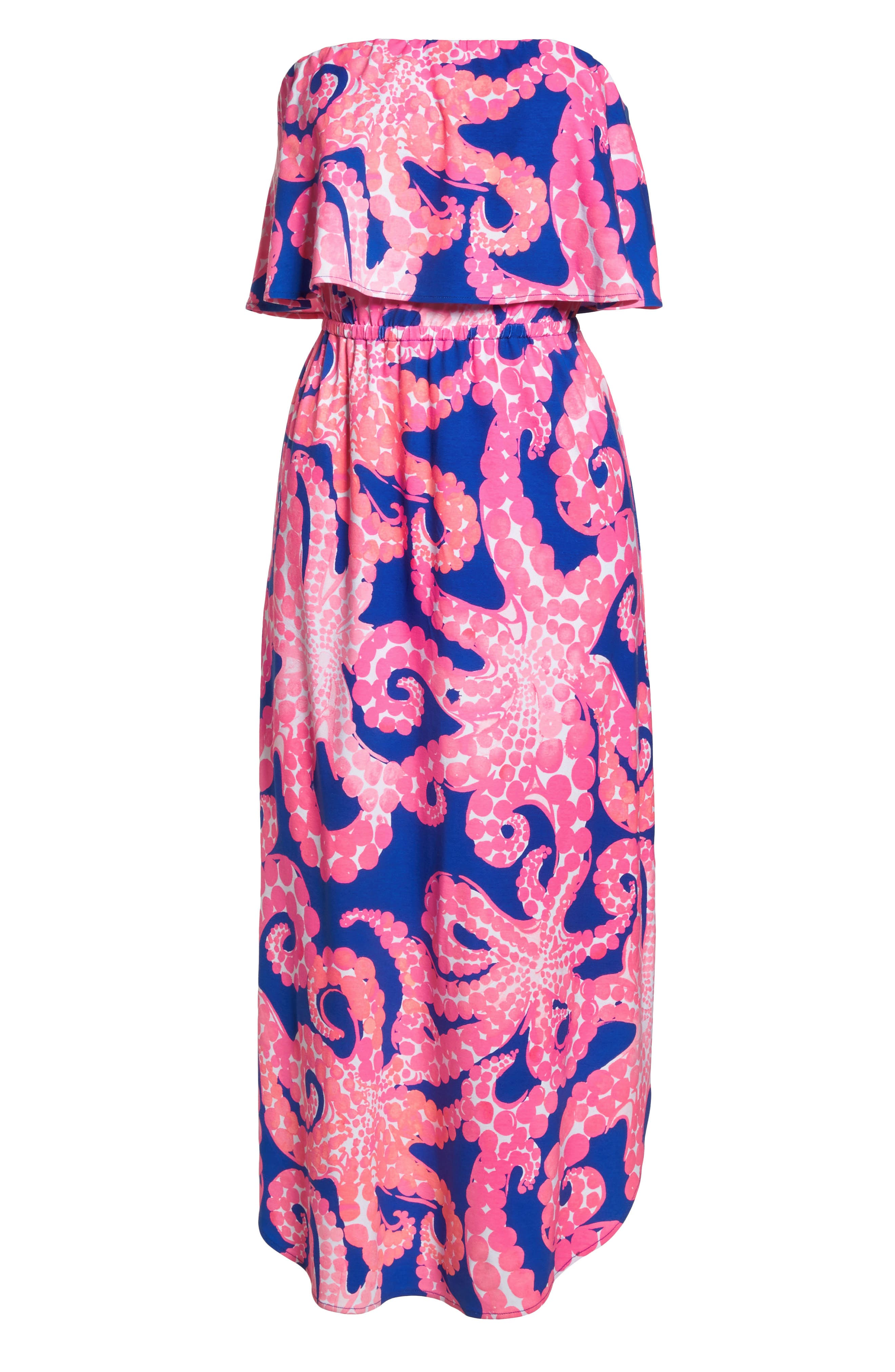 Meridian Strapless Midi Dress,                             Alternate thumbnail 7, color,                             IKAT BLUE MOCEAN
