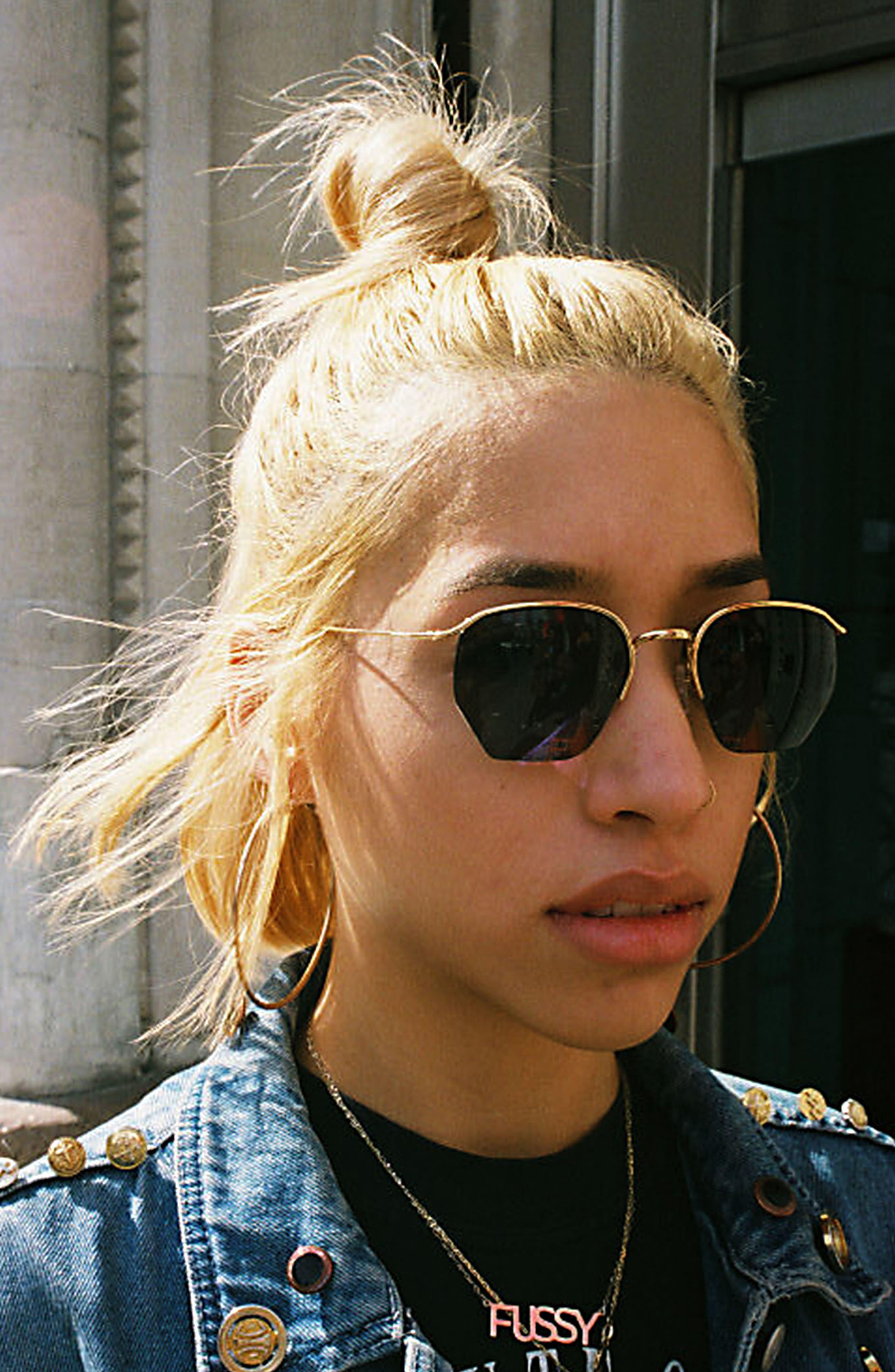 Geo I 51mm Semi Rimless Sunglasses,                             Alternate thumbnail 2, color,                             MATTE BLACK/ BLUE
