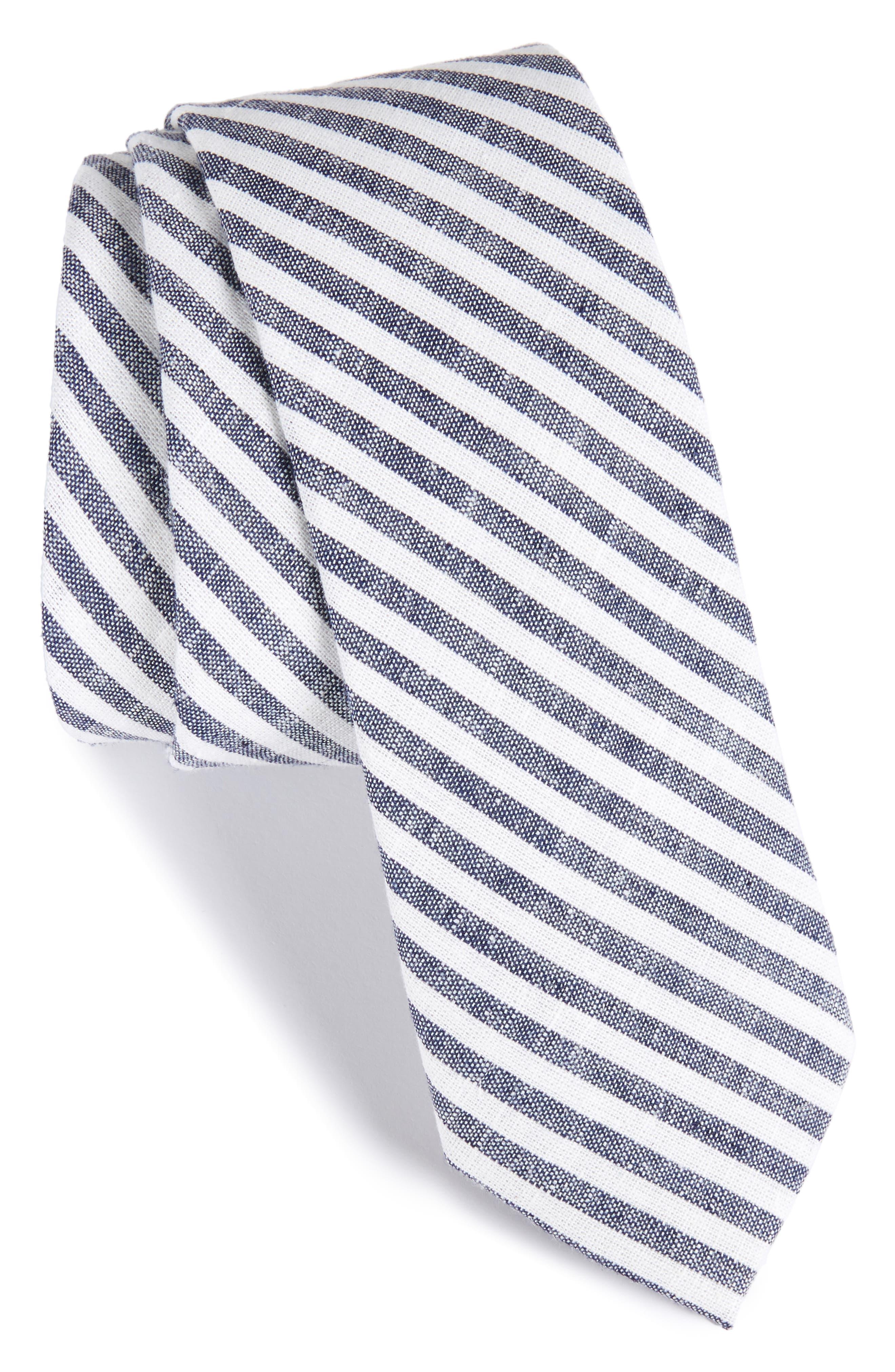 Stripe Cotton Tie,                             Main thumbnail 1, color,