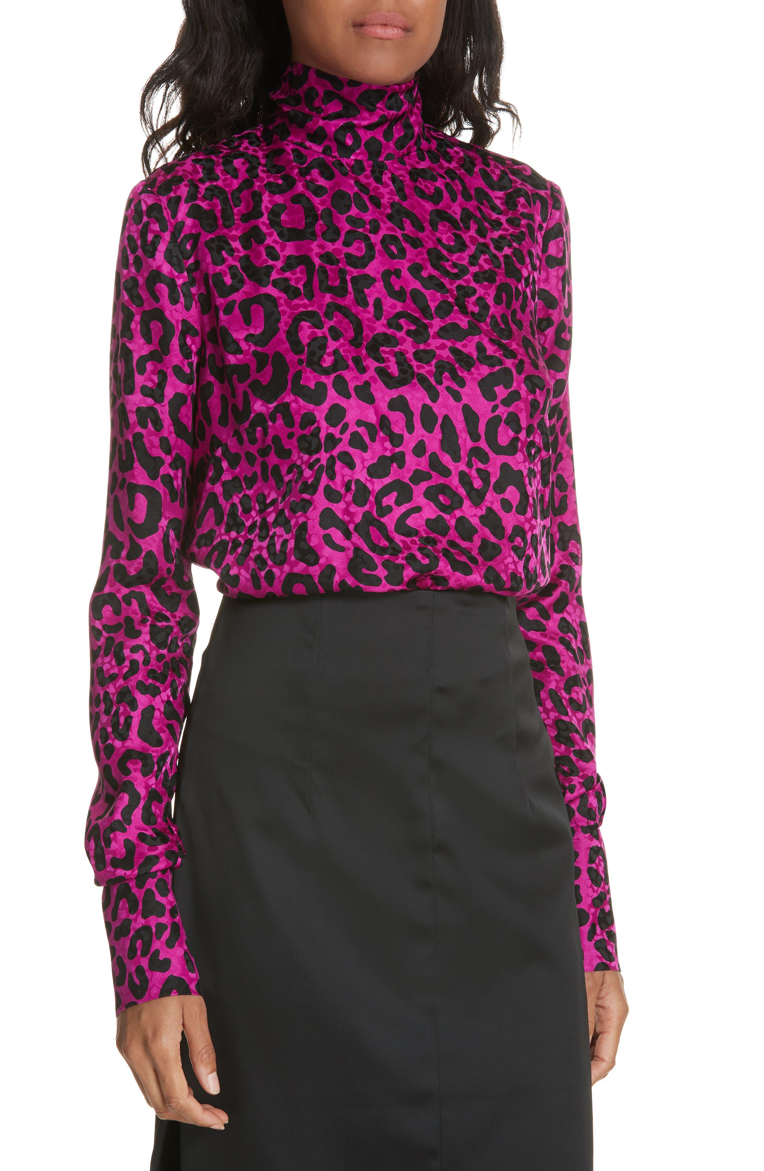 Leopard Print Silk Jacquard Top,                             Main thumbnail 1, color,                             673