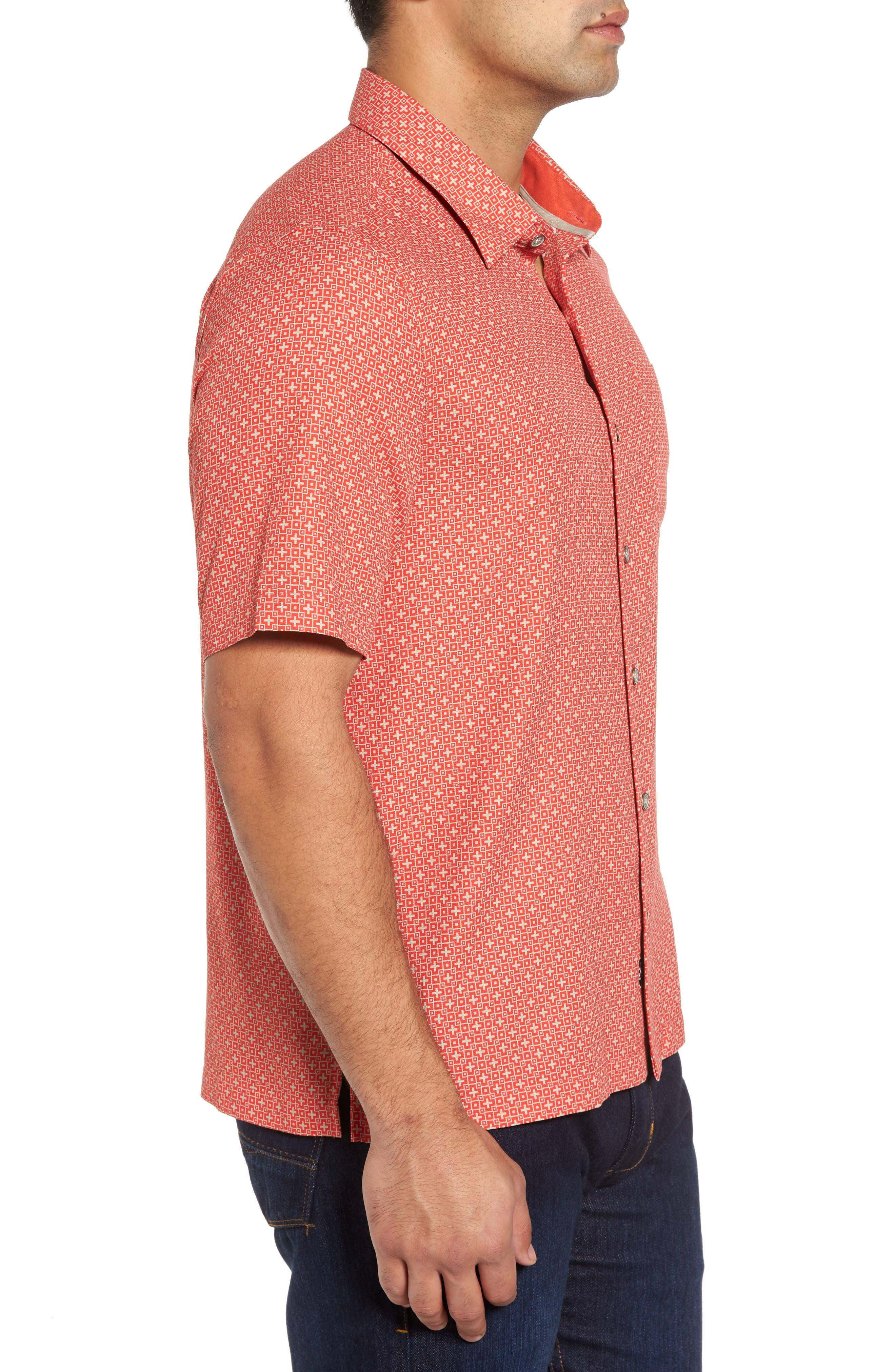 Everest Print Silk Blend Sport Shirt,                             Alternate thumbnail 9, color,