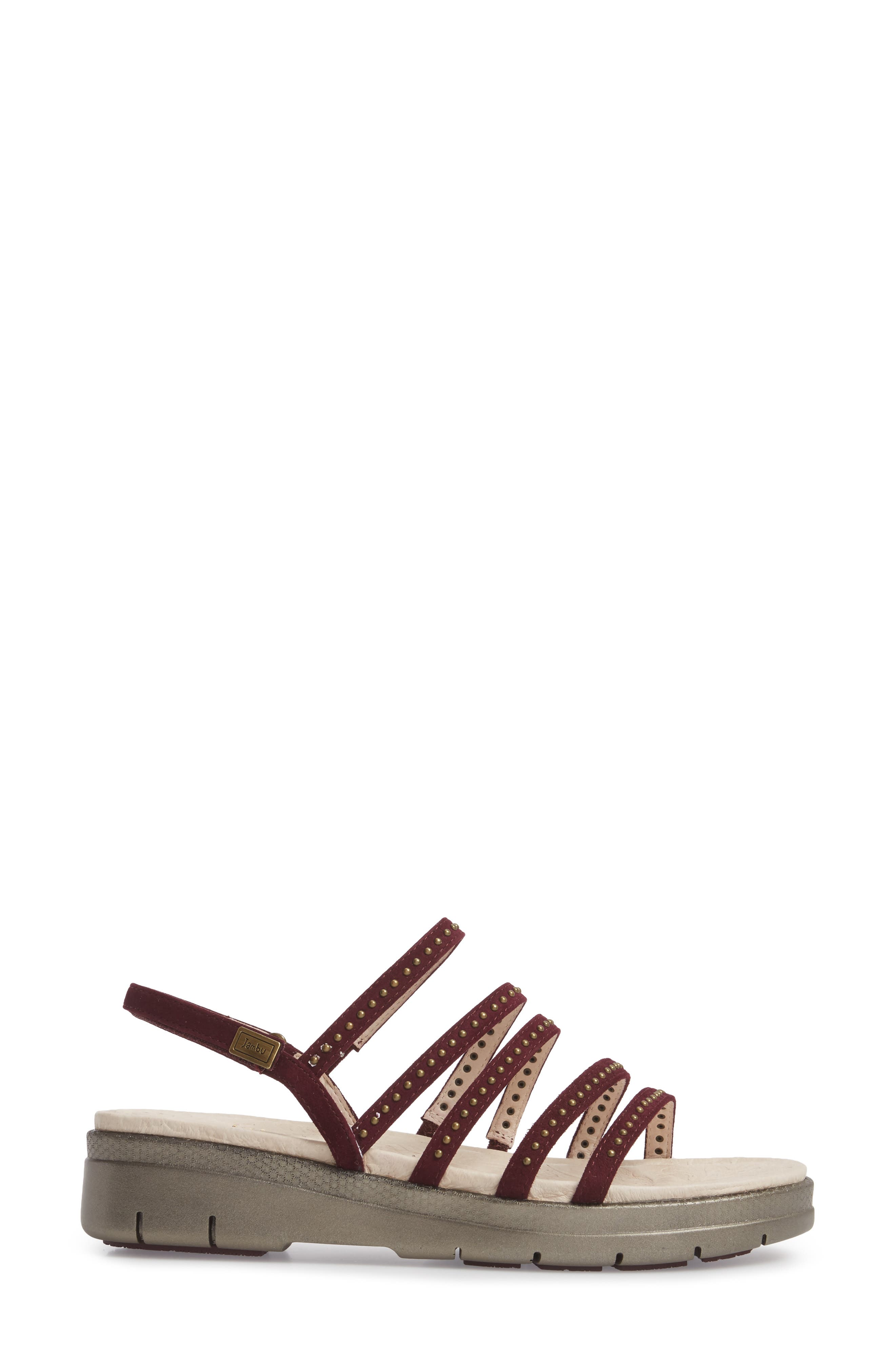 Elegance Studded Strappy Sandal,                             Alternate thumbnail 3, color,                             WINE SUEDE