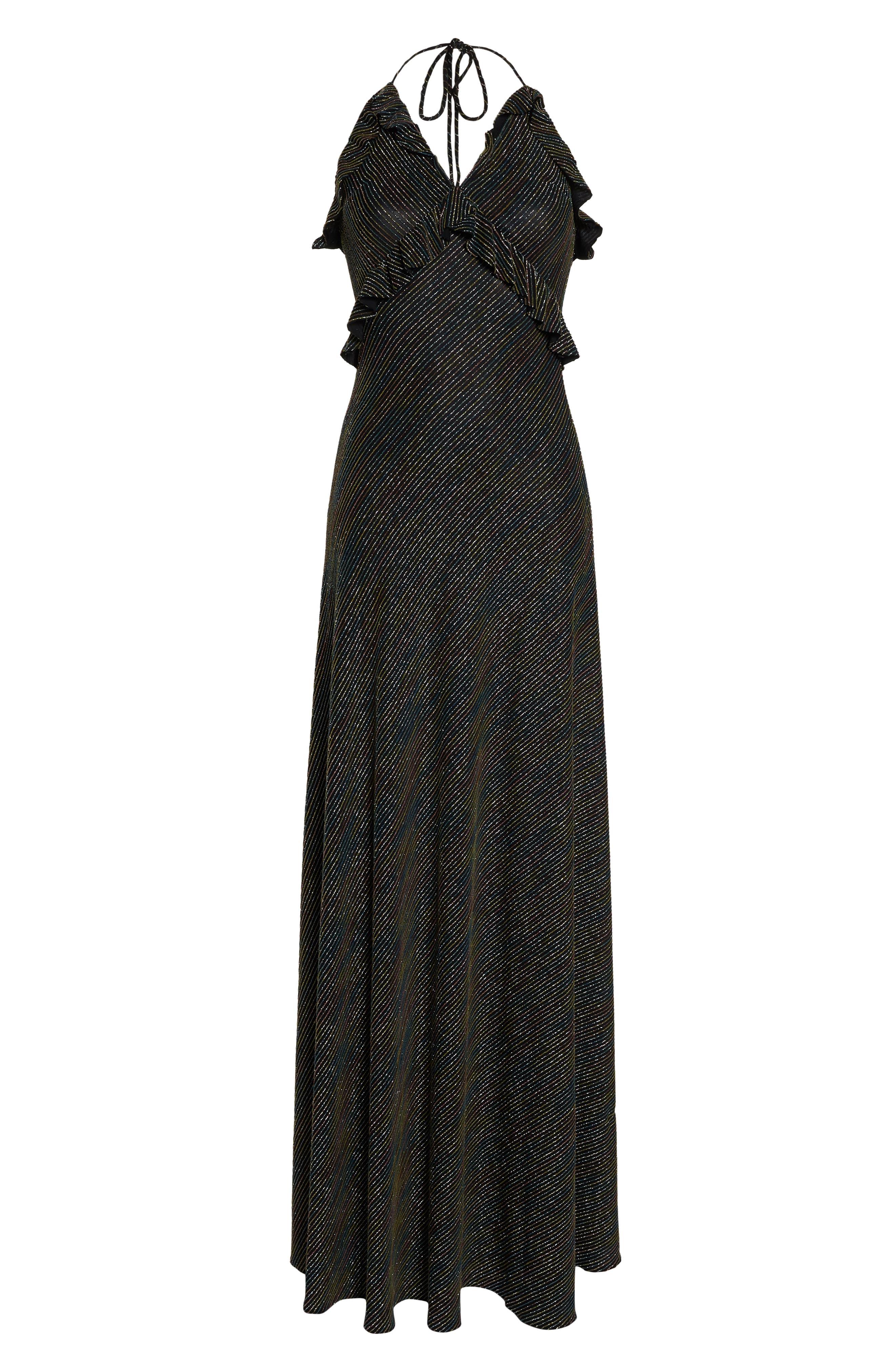 JILL JILL STUART,                             Marjan Metallic Knit Gown,                             Alternate thumbnail 6, color,                             SILVER MULTI