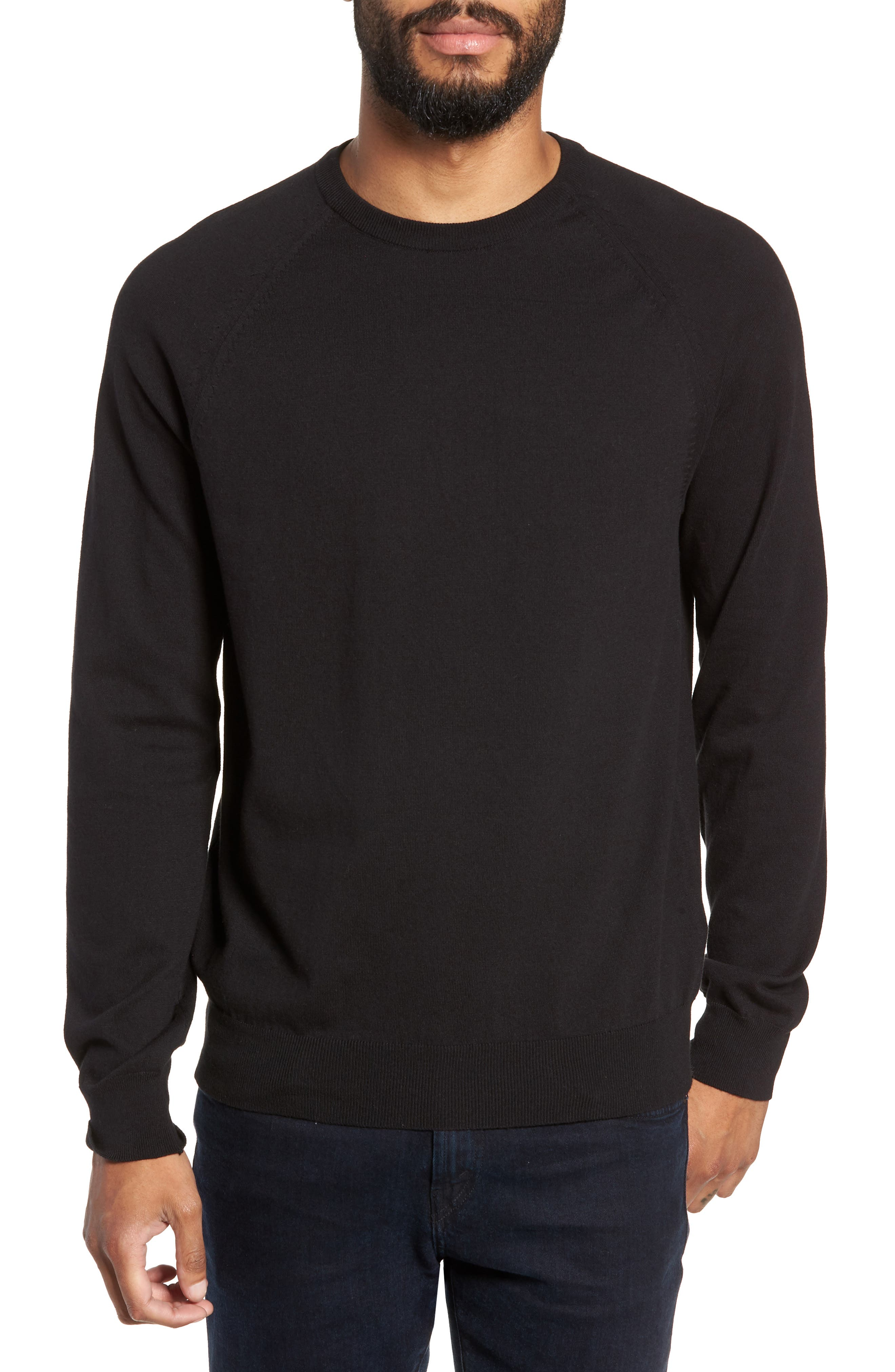 Regular Fit Stretch Cotton Crewneck Sweater,                             Main thumbnail 1, color,                             BLACK