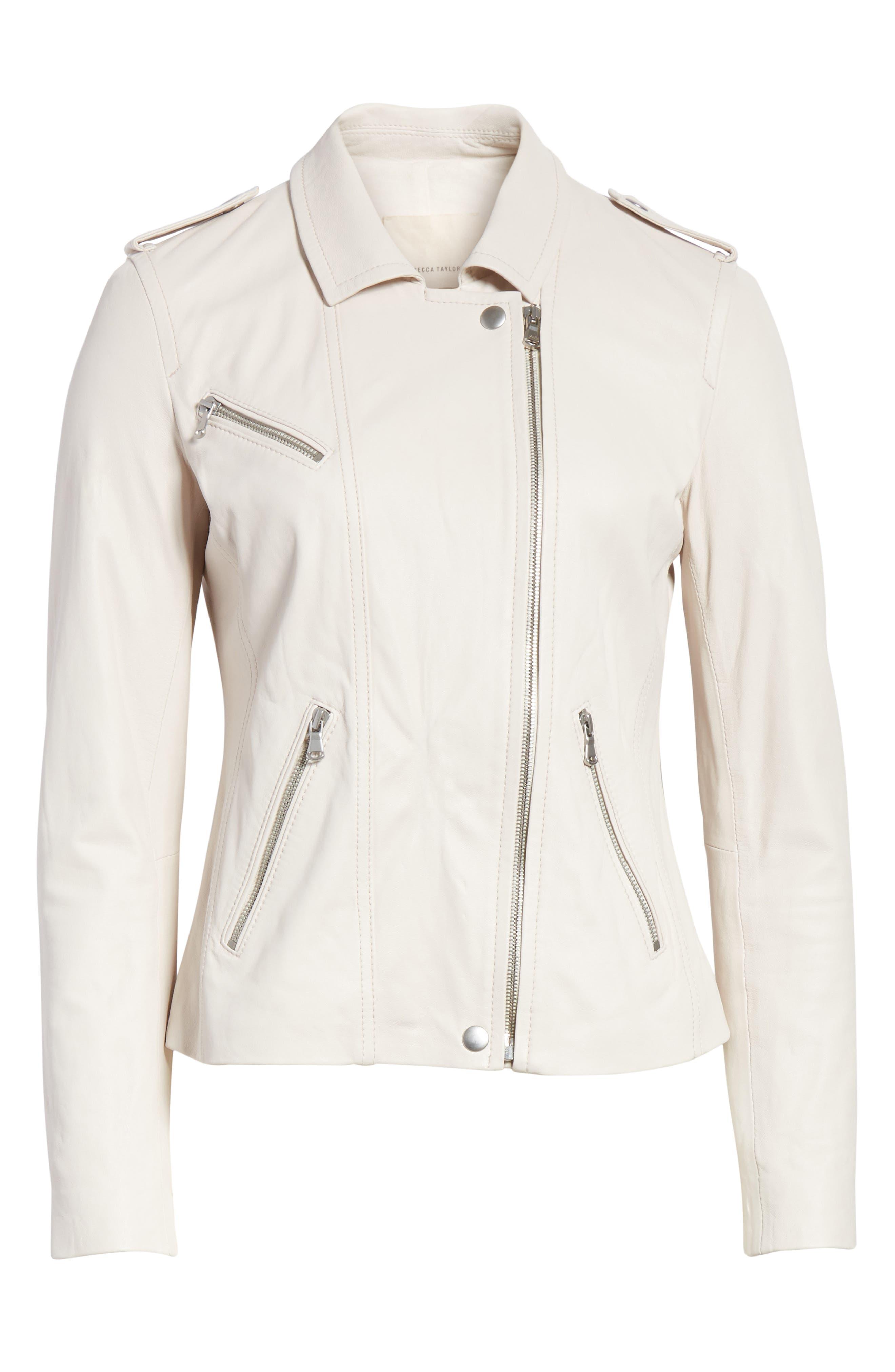Washed Leather Moto Jacket,                             Alternate thumbnail 5, color,                             VANILLA