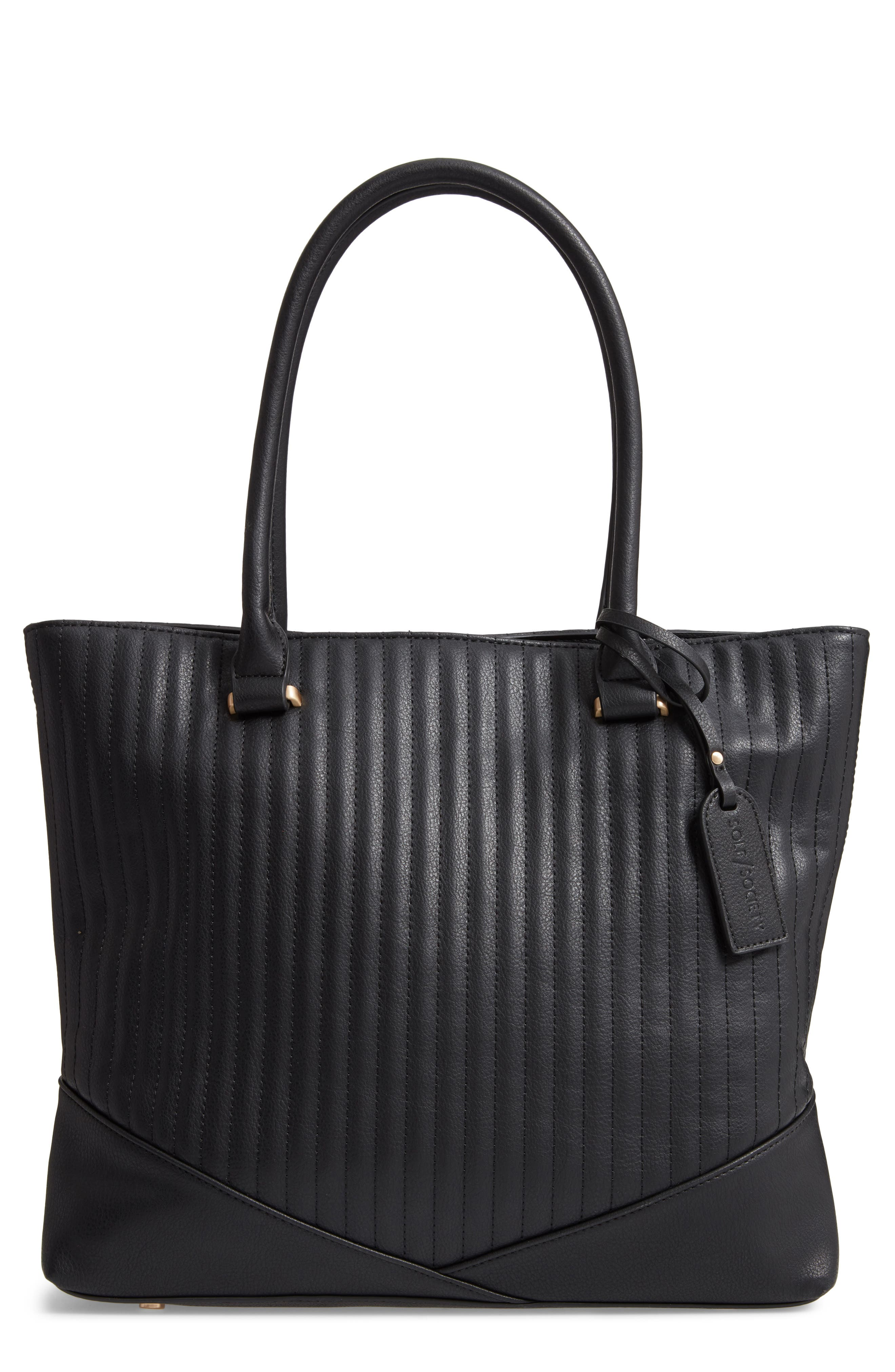 SOLE SOCIETY Urche Quilted Faux Leather Tote, Main, color, BLACK