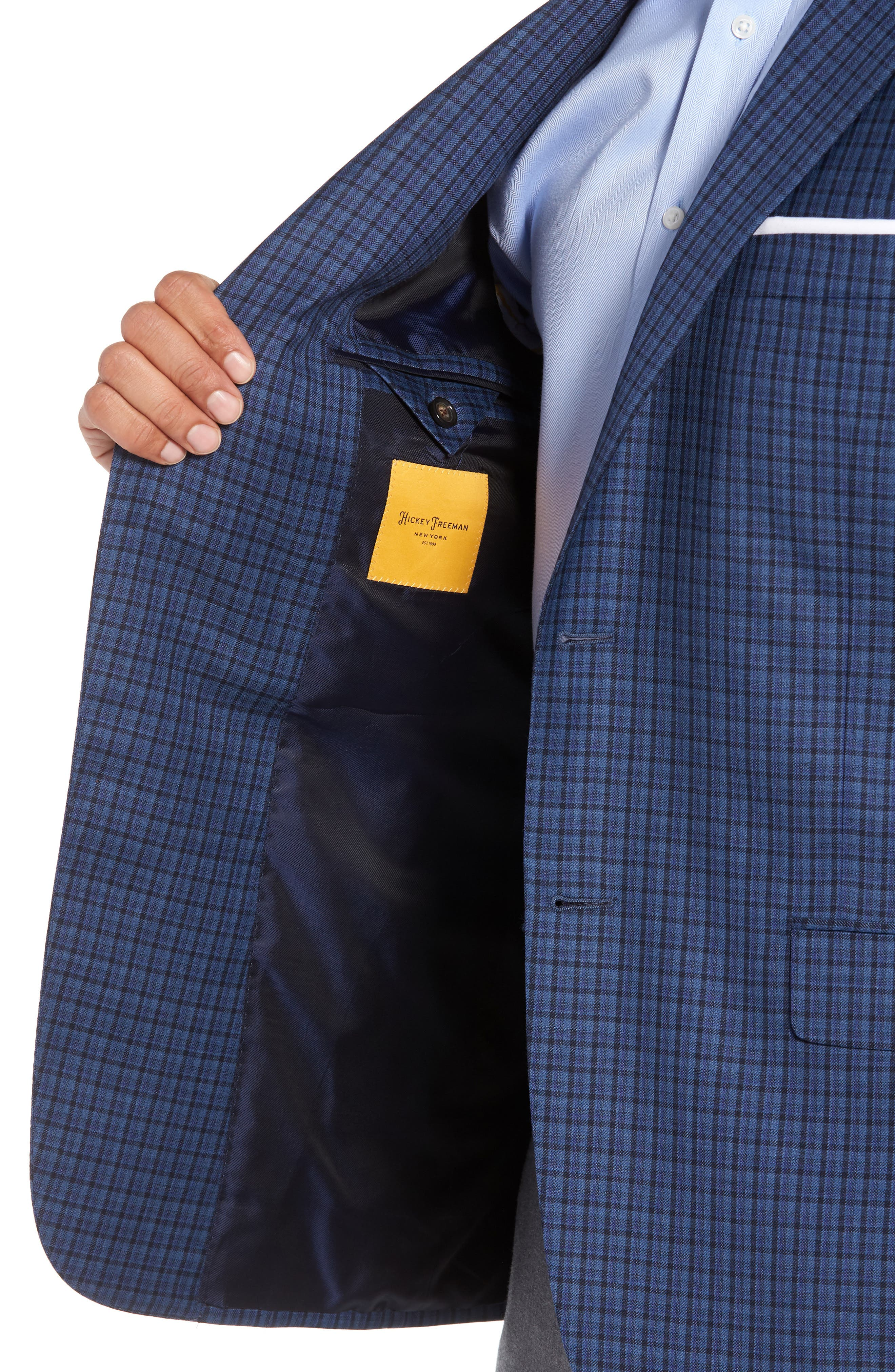 Classic B Fit Check Wool Sport Coat,                             Alternate thumbnail 4, color,                             BLUE PLAID