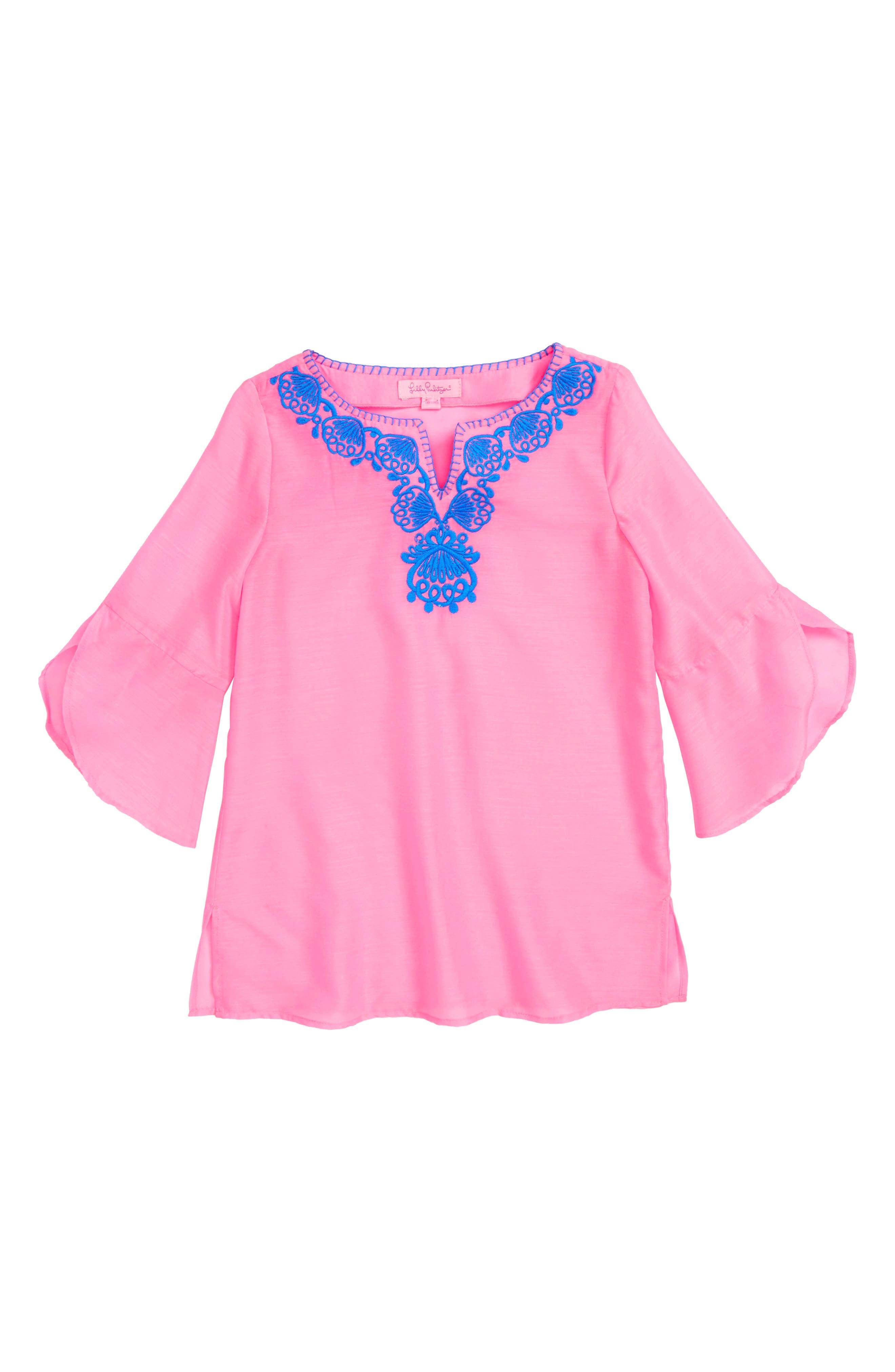 Mini Piet Cotton Cover-Up Dress,                             Main thumbnail 1, color,                             PINK SUNSET