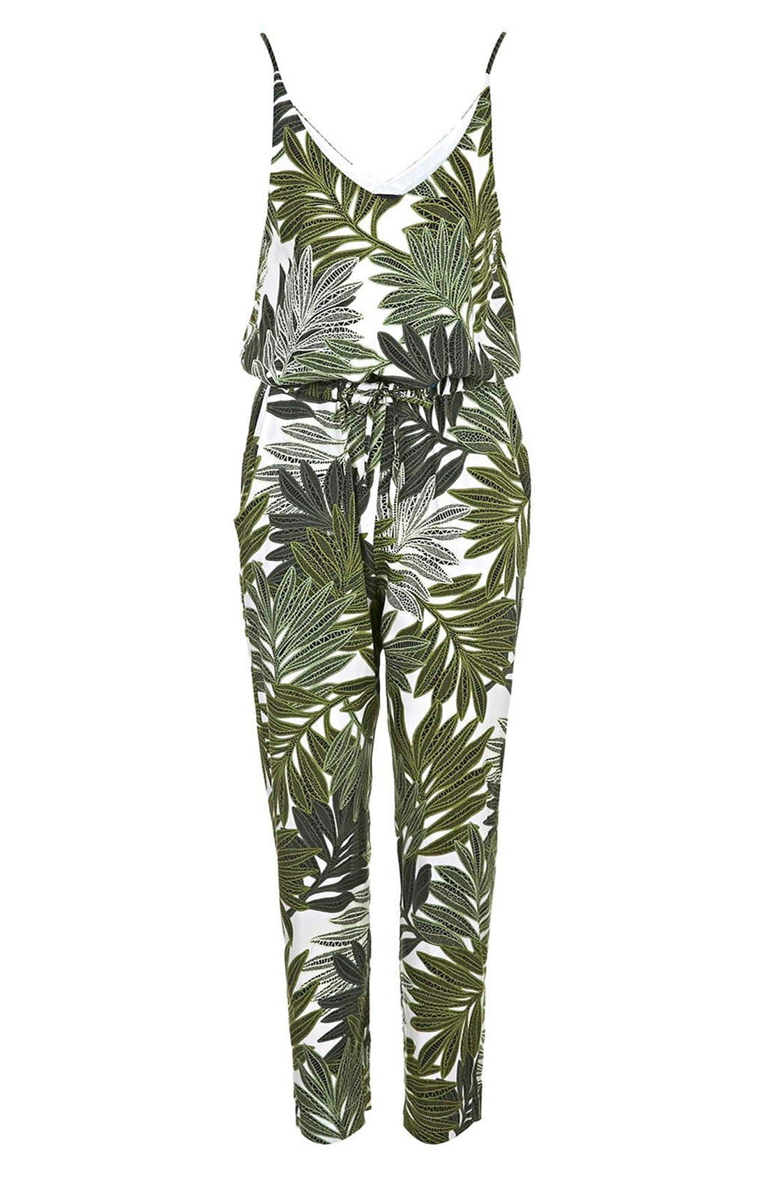 Palm Leaf Print Jumpsuit,                             Alternate thumbnail 2, color,                             300