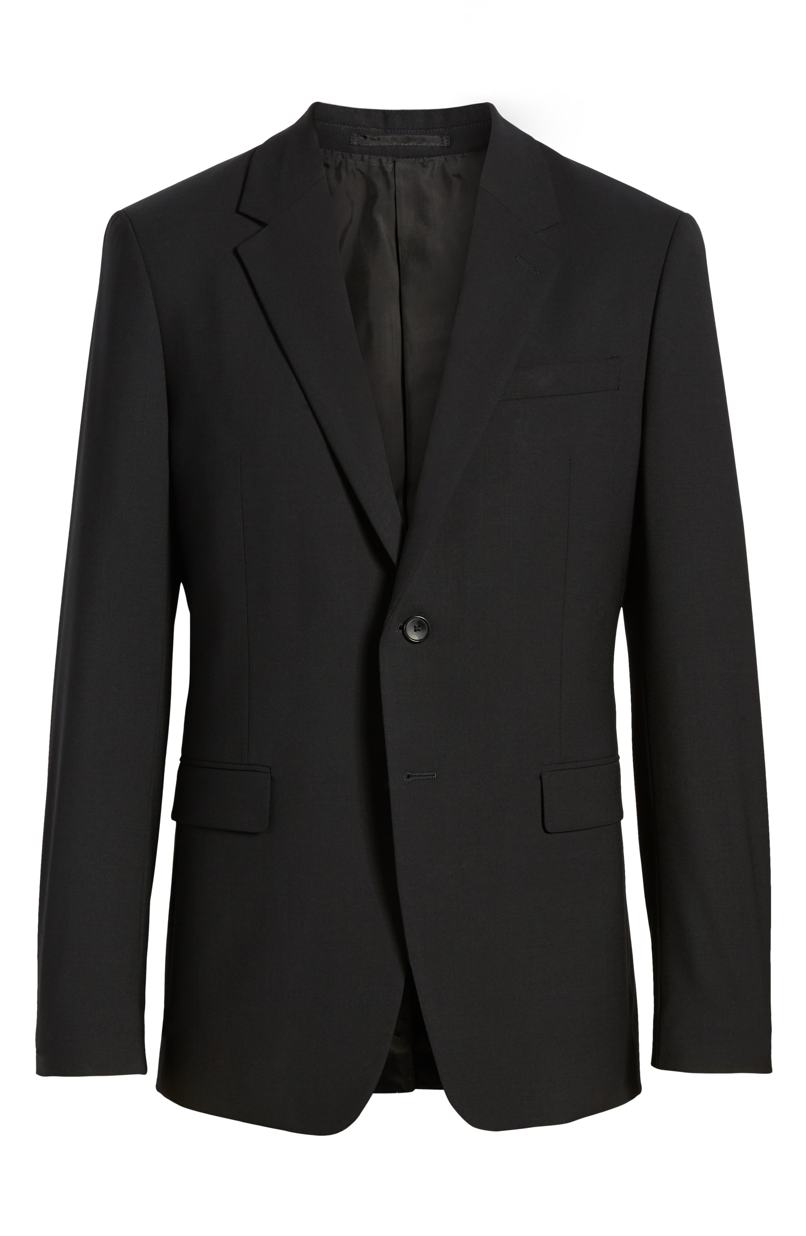 Chambers Slim Fit Stretch Wool Blazer,                             Alternate thumbnail 5, color,                             BLACK