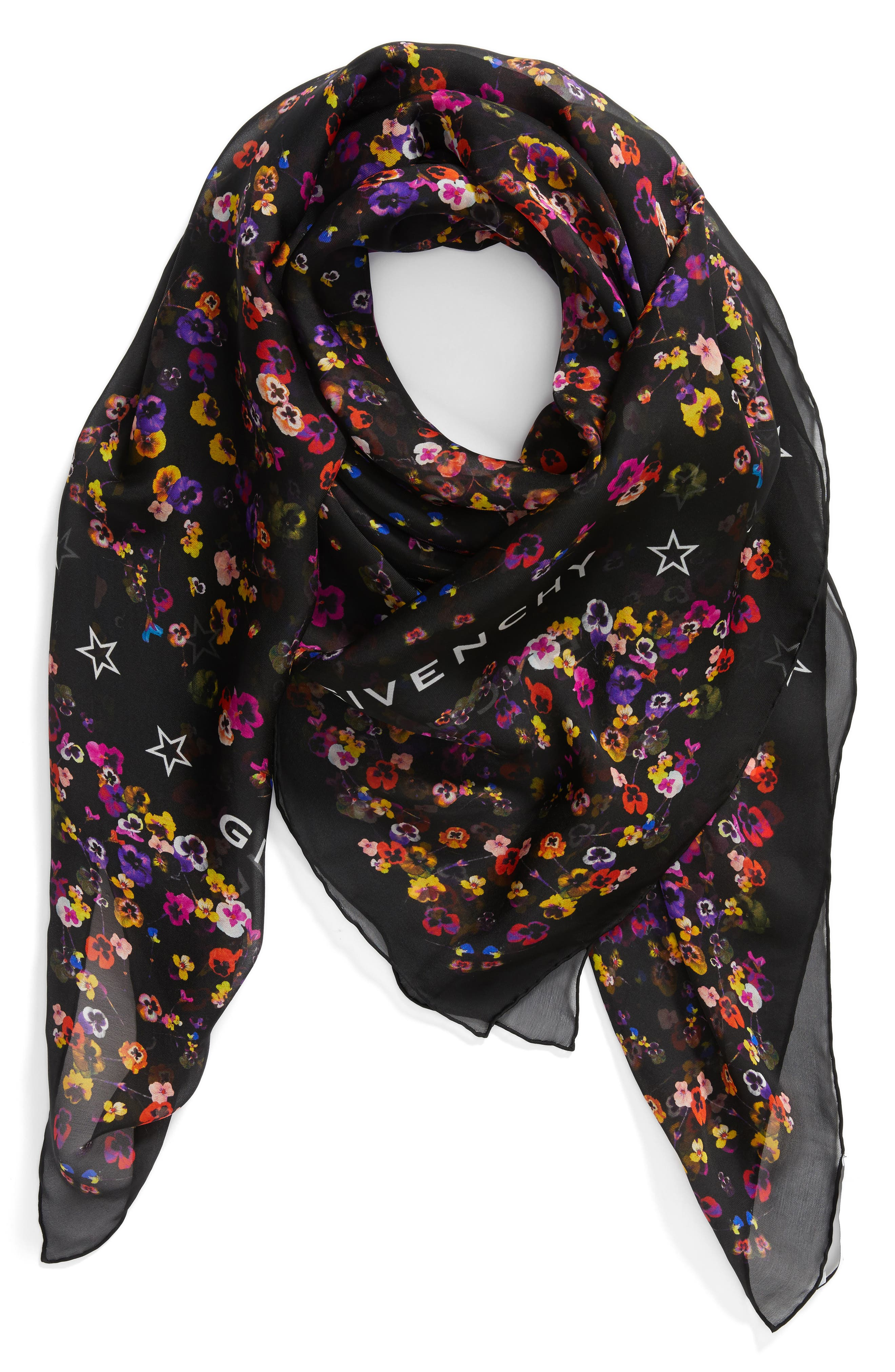 Wild Pansy Silk Scarf,                             Alternate thumbnail 2, color,                             001
