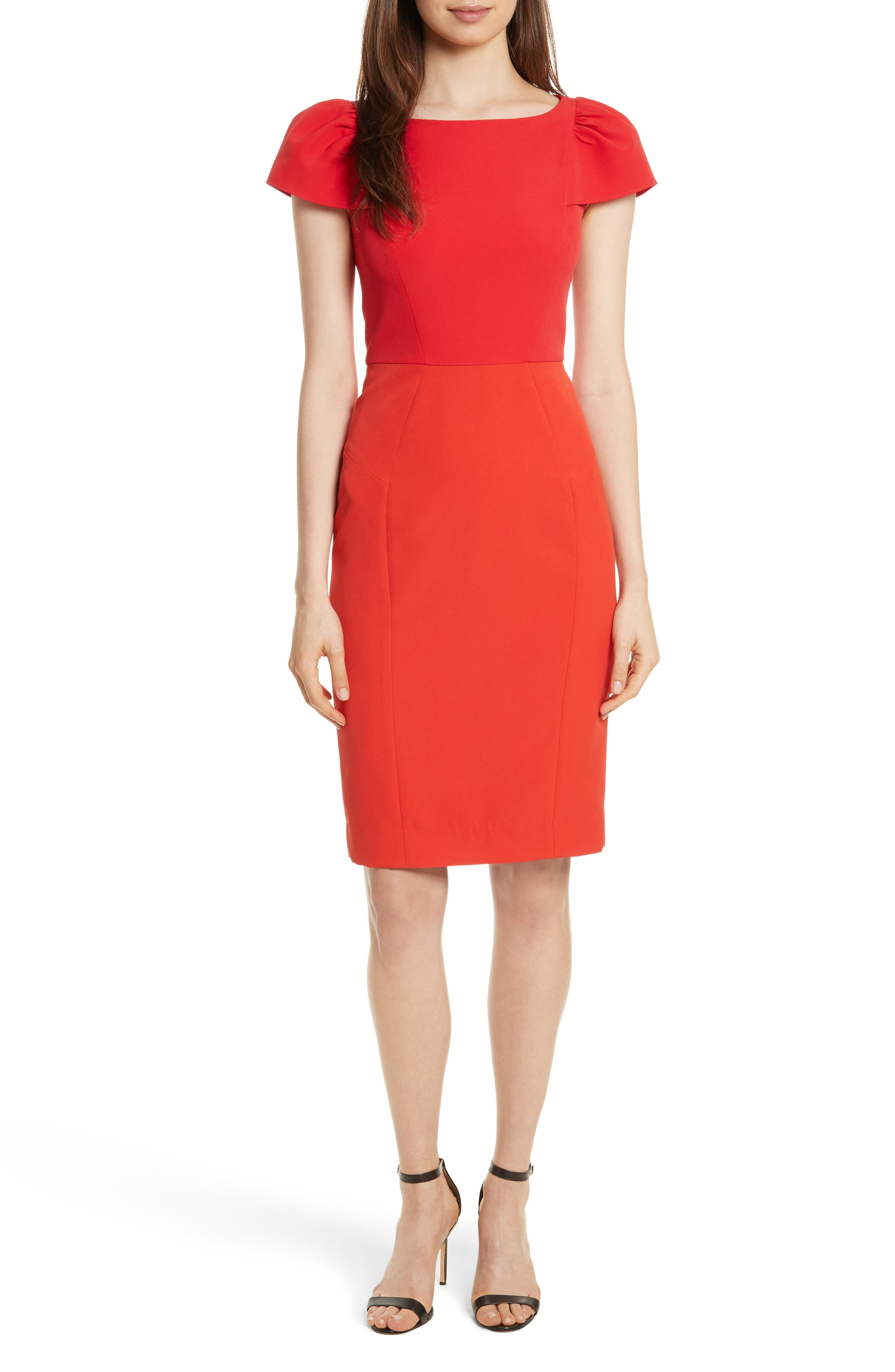Italian Cady Gathered Sleeve Sheath Dress,                             Alternate thumbnail 5, color,                             569