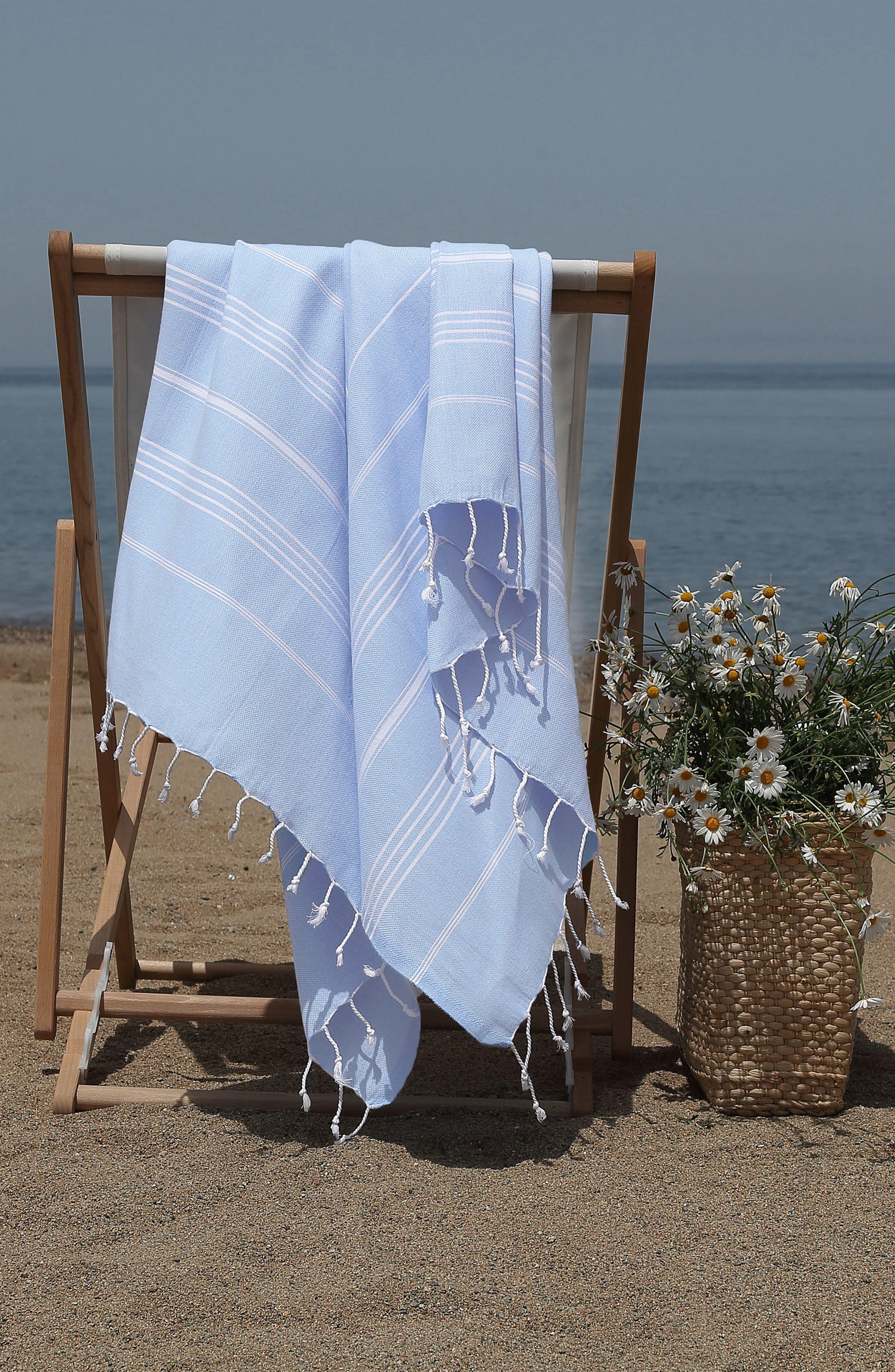 'Lucky' Turkish Pestemal Towel,                             Alternate thumbnail 5, color,                             SKY BLUE