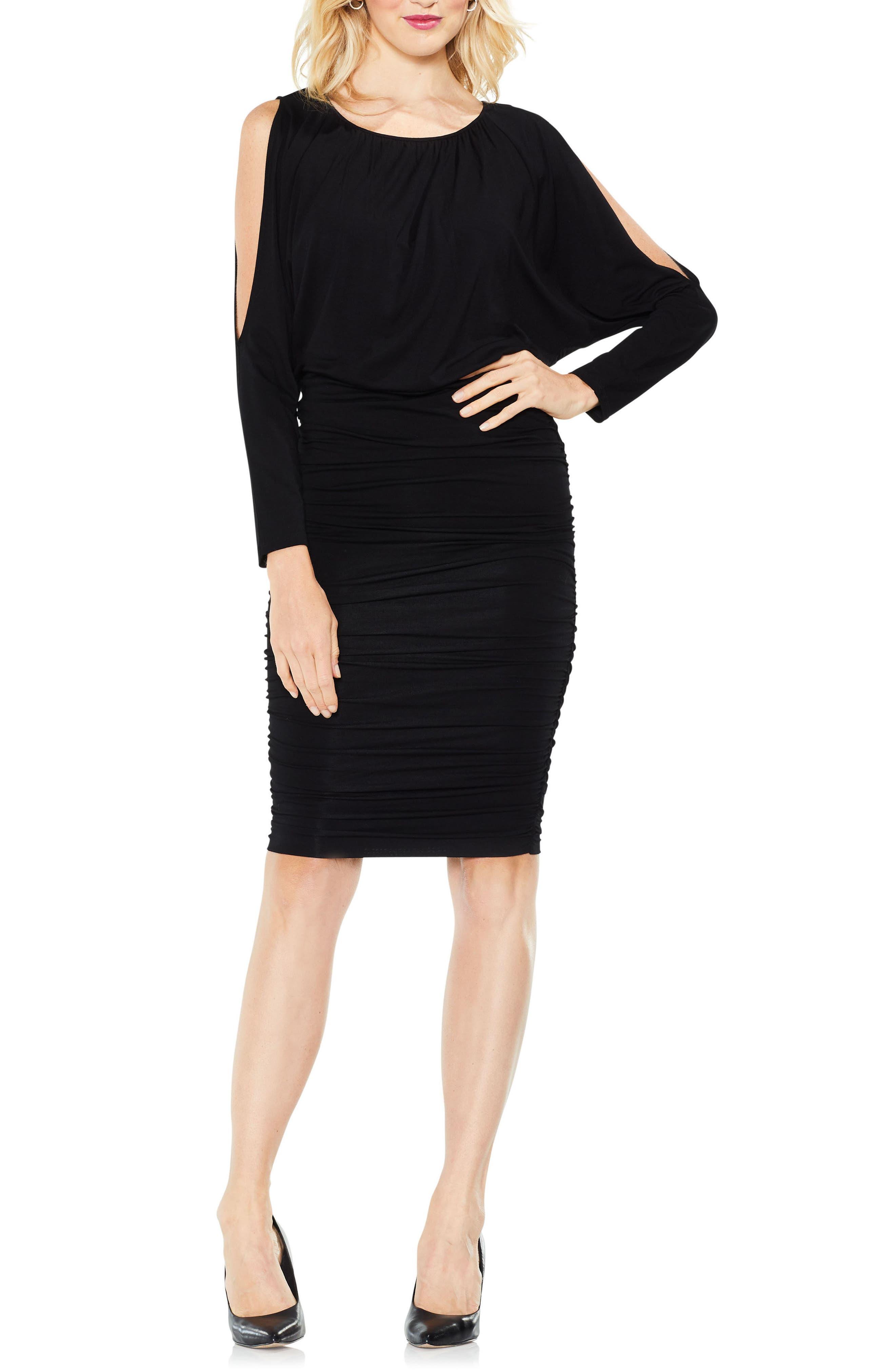 Cold Shoulder Ruched Dress,                         Main,                         color, 010