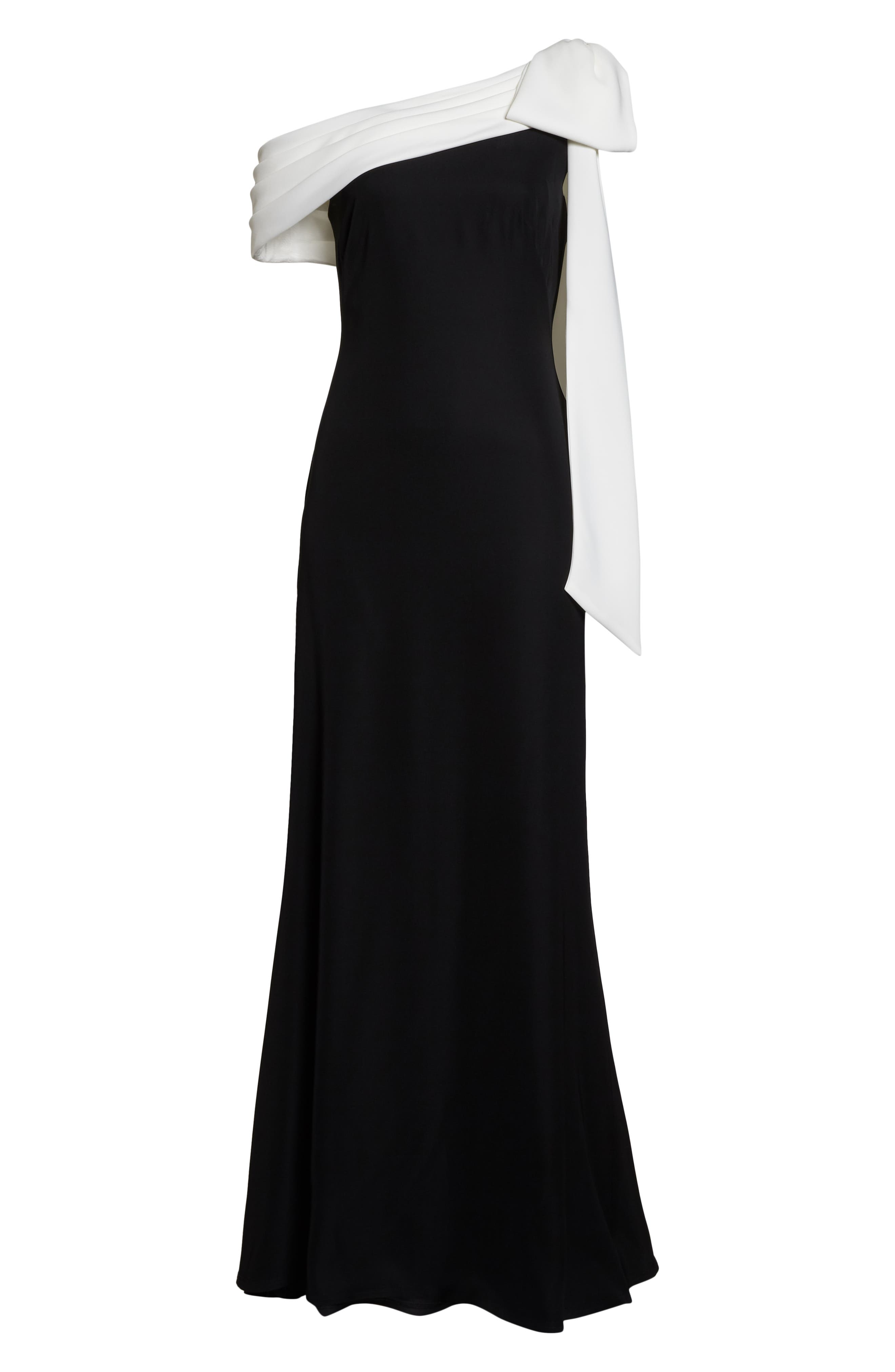 Crepe Gown,                             Alternate thumbnail 7, color,                             BLACK/ WHITE