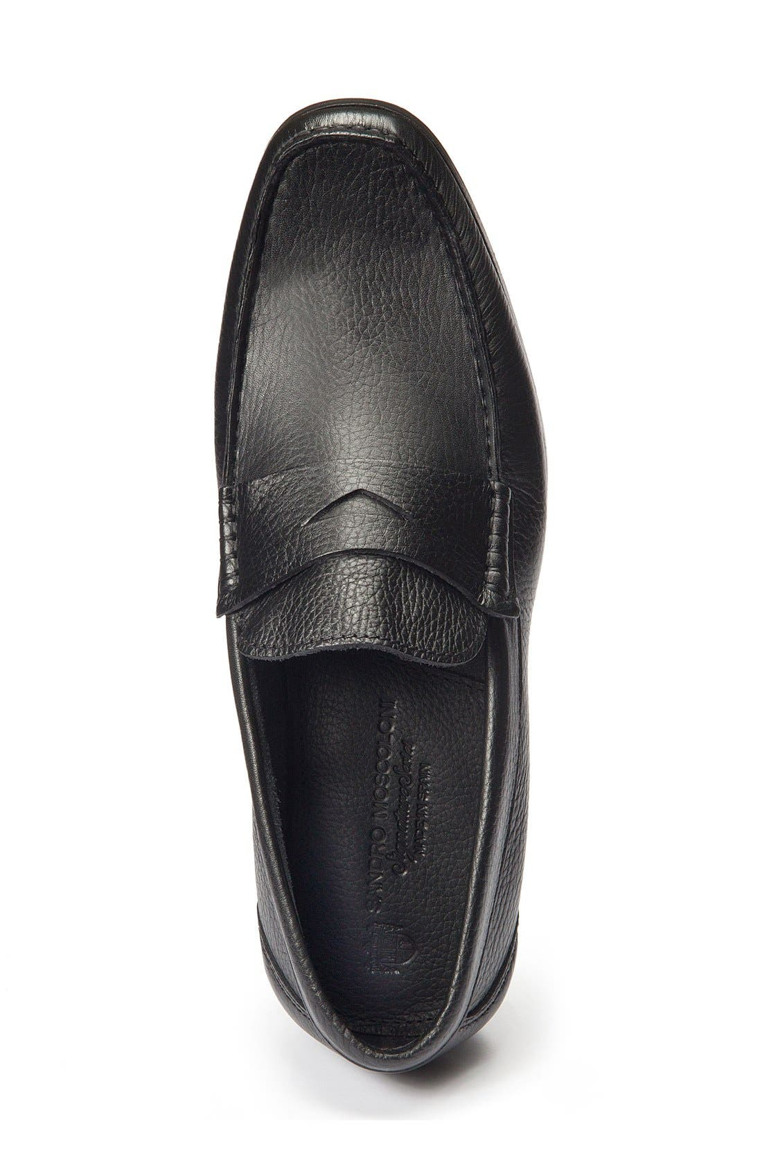 Segovia Penny Loafer,                             Alternate thumbnail 4, color,                             BLACK LEATHER