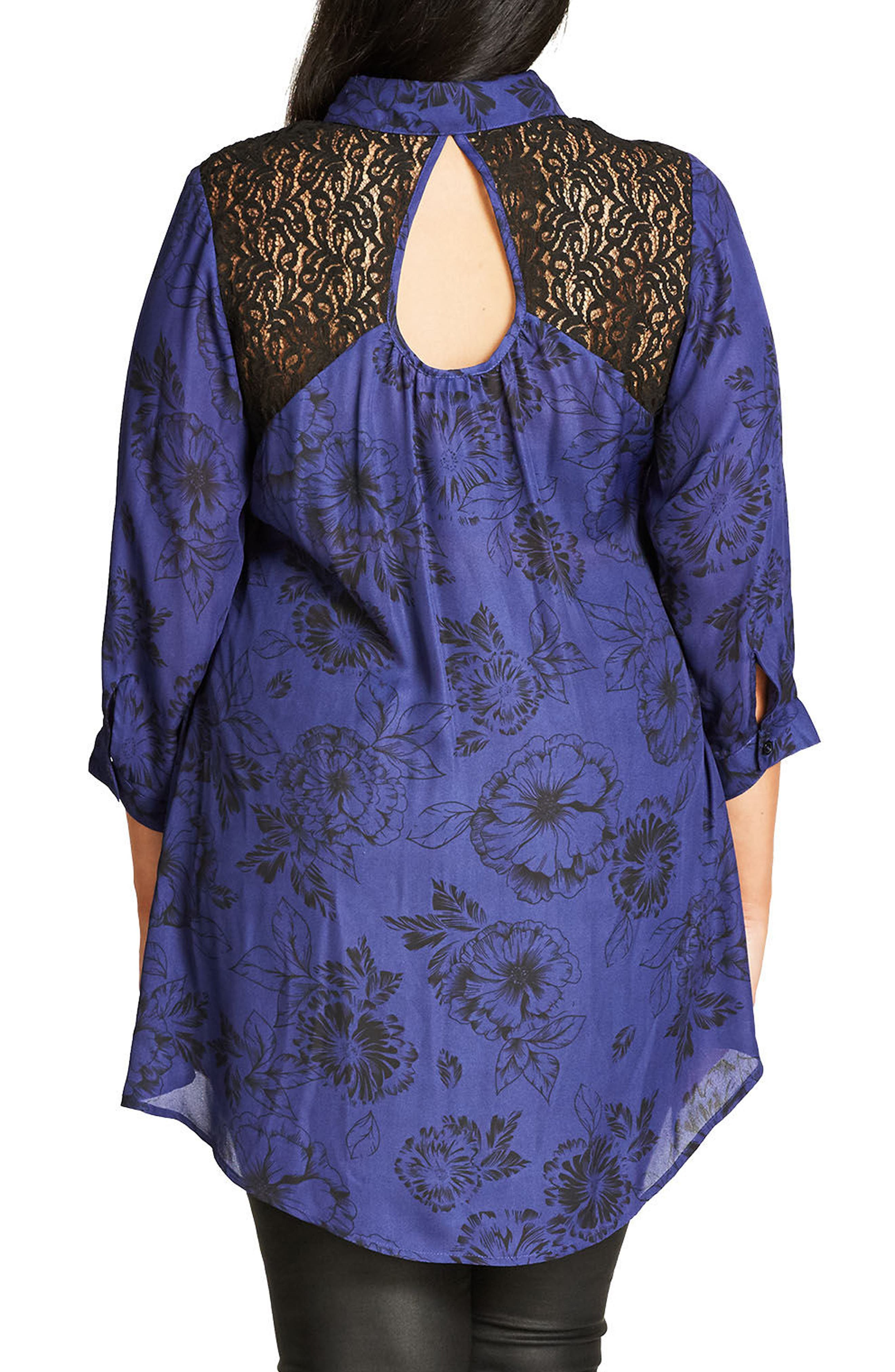 Des Fleurs Back Keyhole Shirt,                             Alternate thumbnail 3, color,                             407
