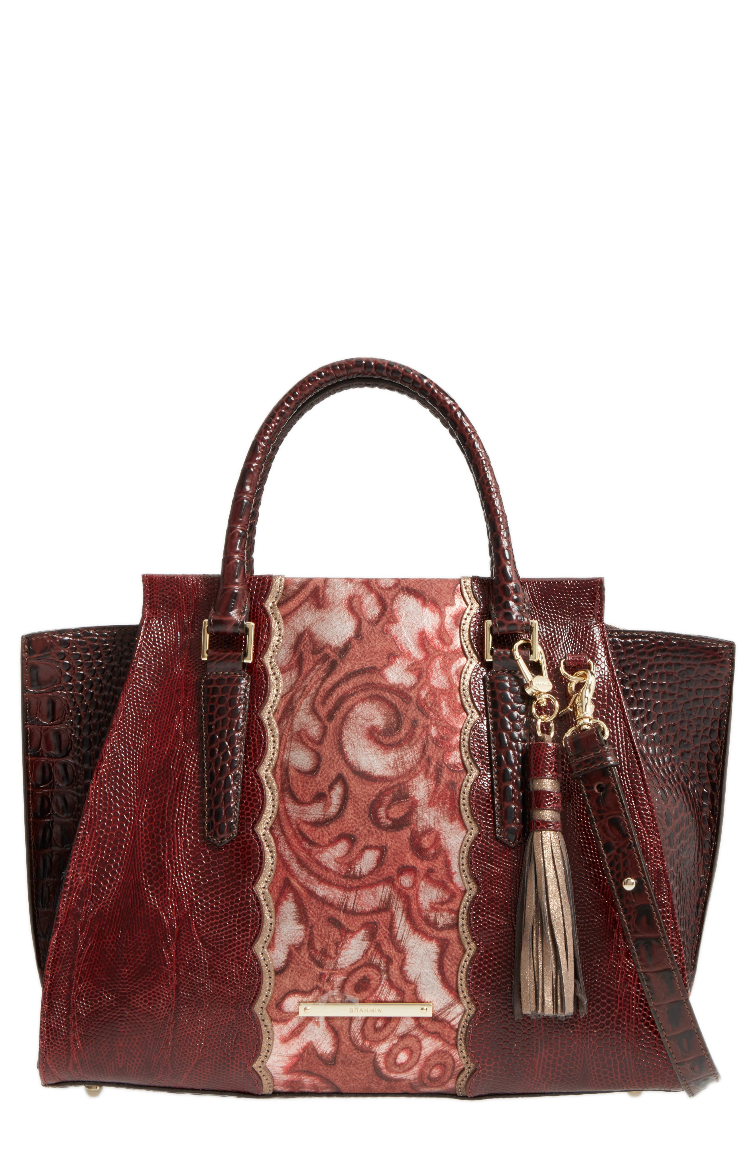Red Verona - Priscilla Leather Satchel,                             Main thumbnail 1, color,                             610