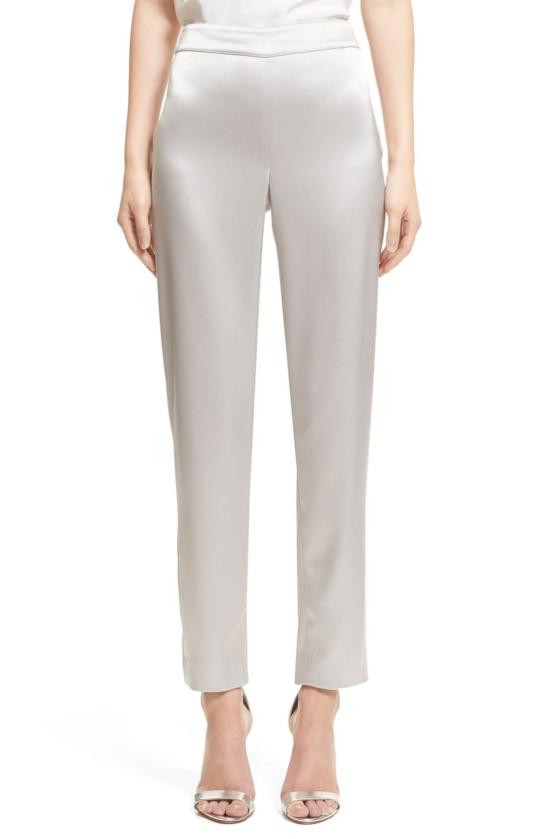 Liquid Satin Crop Pants,                         Main,                         color, PLATINUM