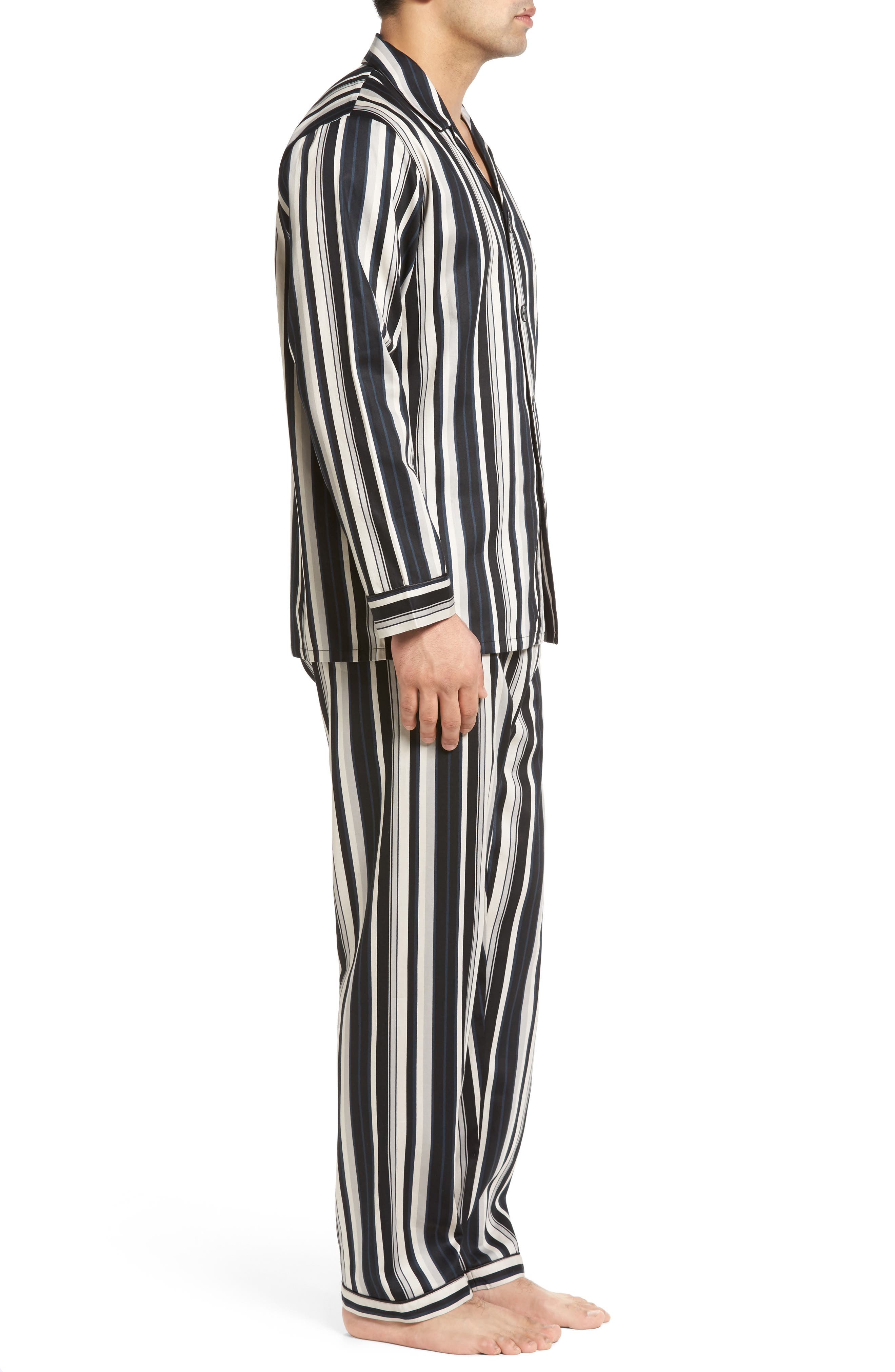 Winslow Pajama Set,                             Alternate thumbnail 3, color,                             BLACK STRIPE