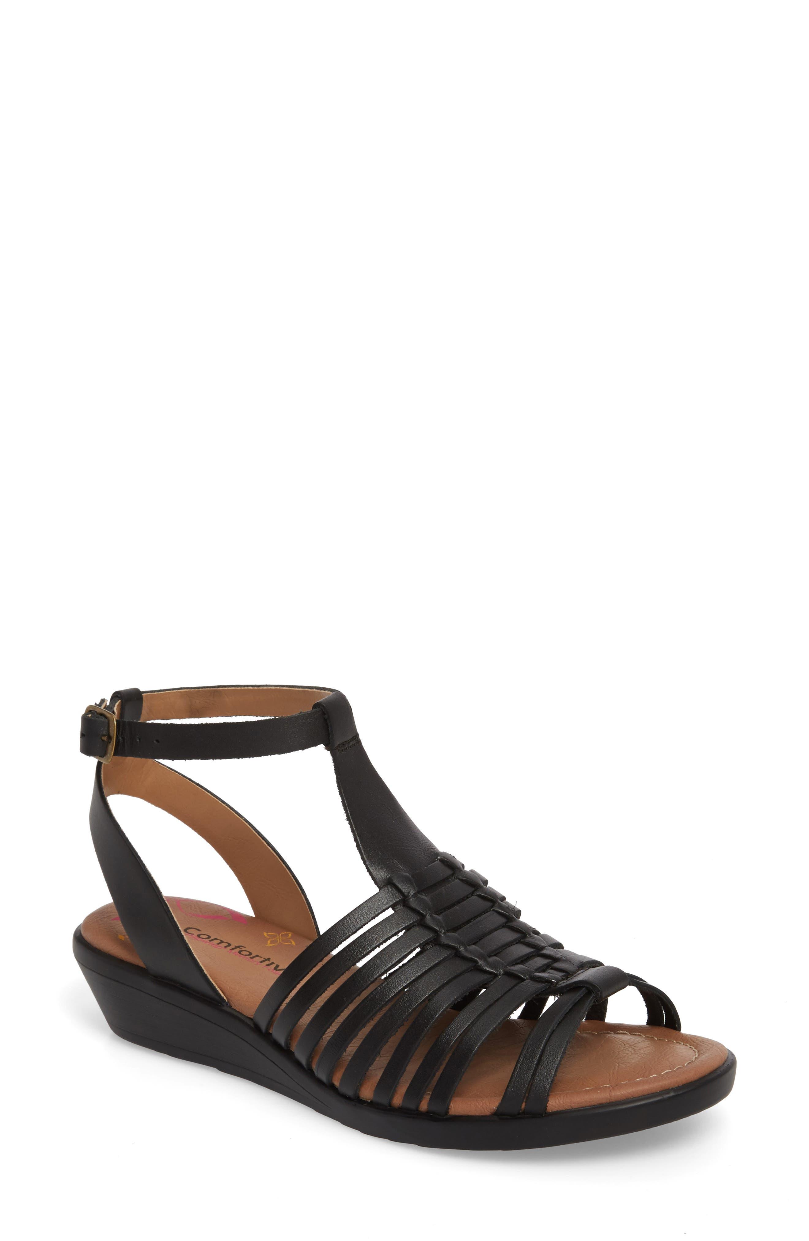 Farina Huarache Sandal,                         Main,                         color, BLACK LEATHER