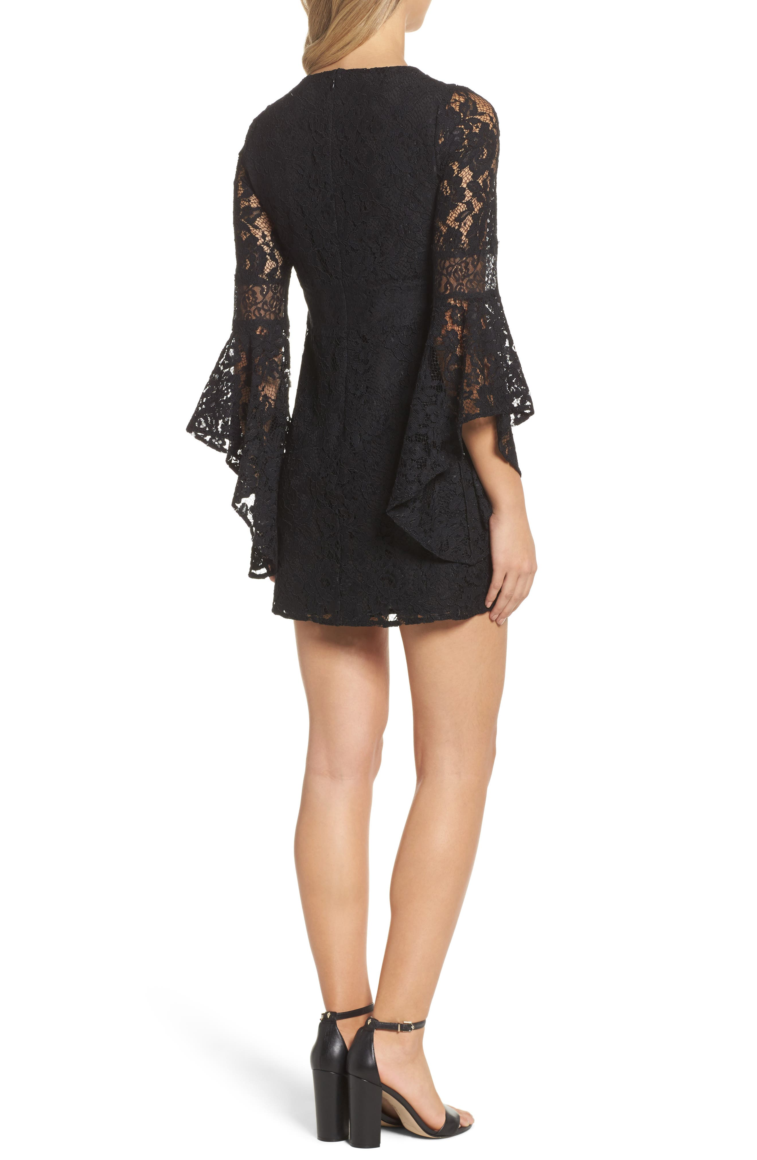 Le Fete Lace Bell Sleeve Dress,                             Alternate thumbnail 2, color,                             001
