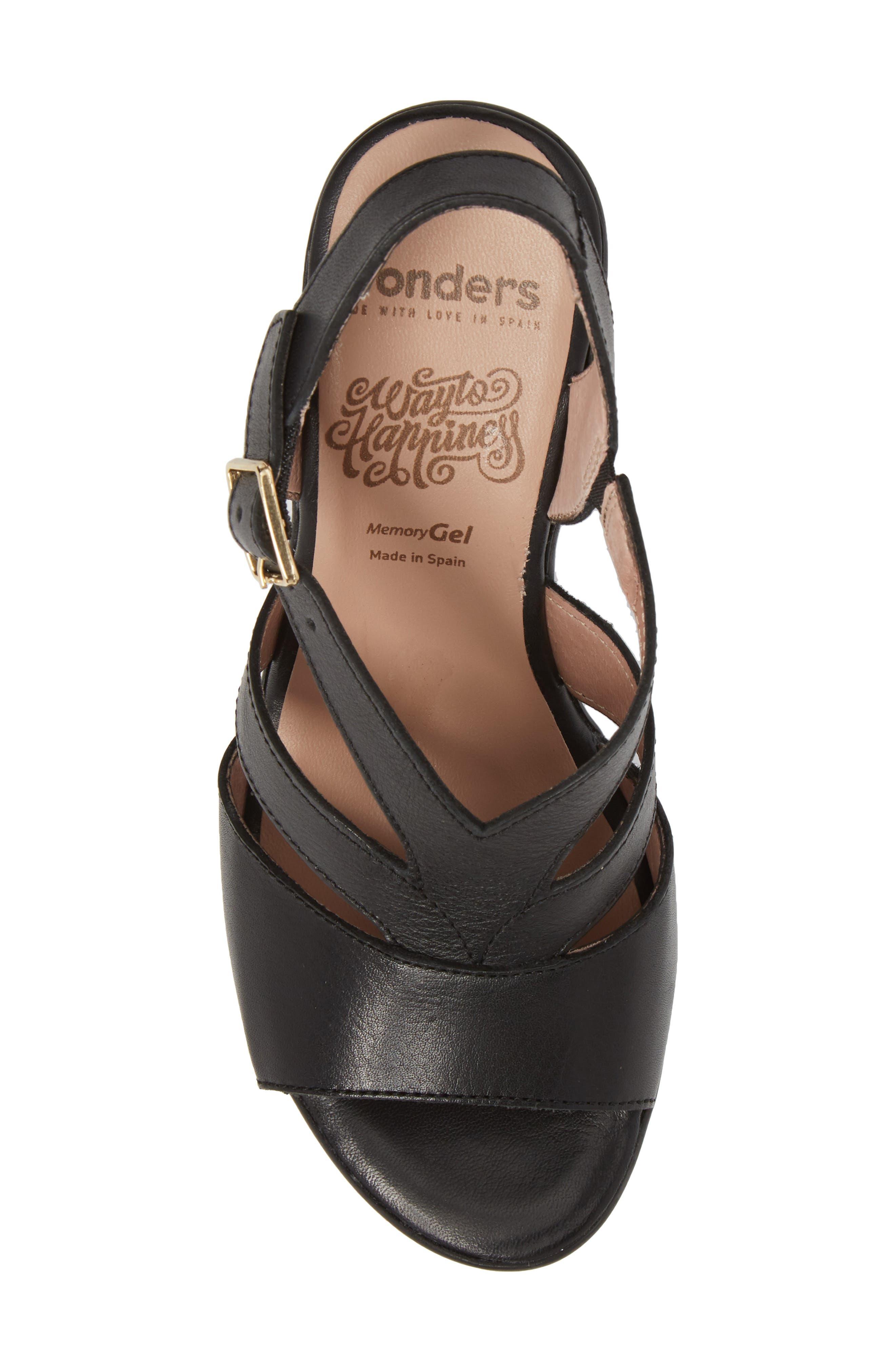 V-Strap Platform Sandal,                             Alternate thumbnail 5, color,                             BLACK LEATHER