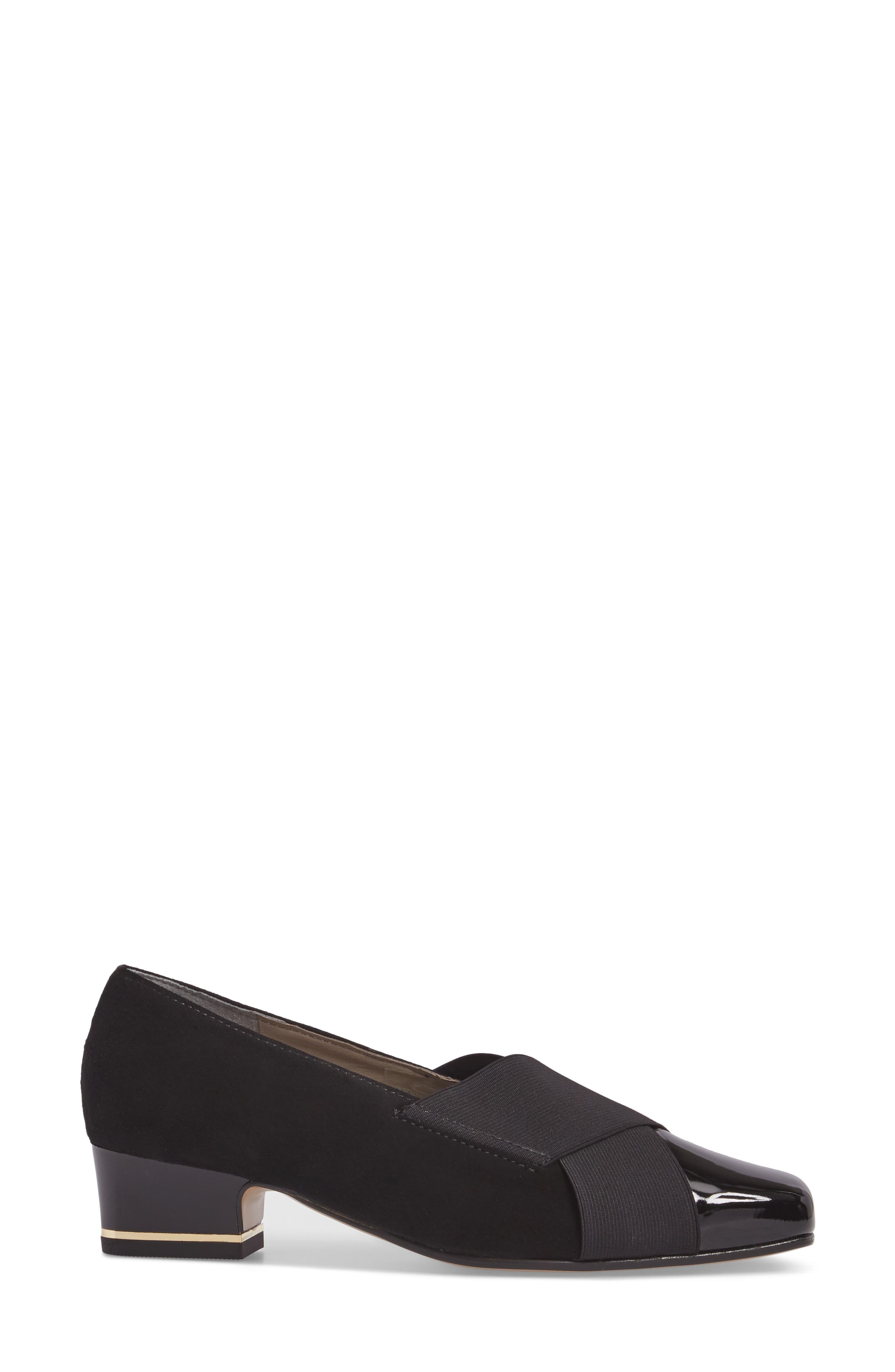 Gina Loafer Pump,                             Alternate thumbnail 3, color,                             BLACK LEATHER