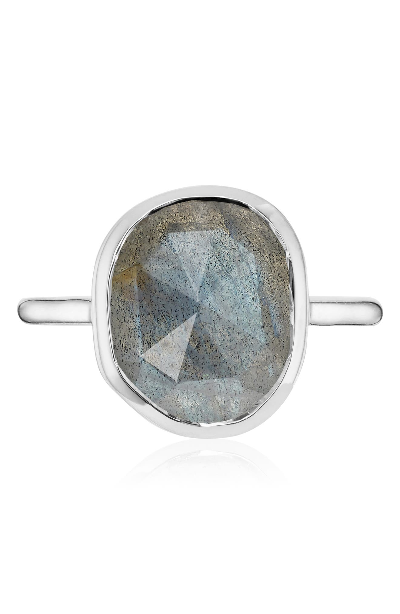 'Siren' Medium Semiprecious Stone Stacking Ring,                             Alternate thumbnail 4, color,                             SILVER/ LABRADORITE