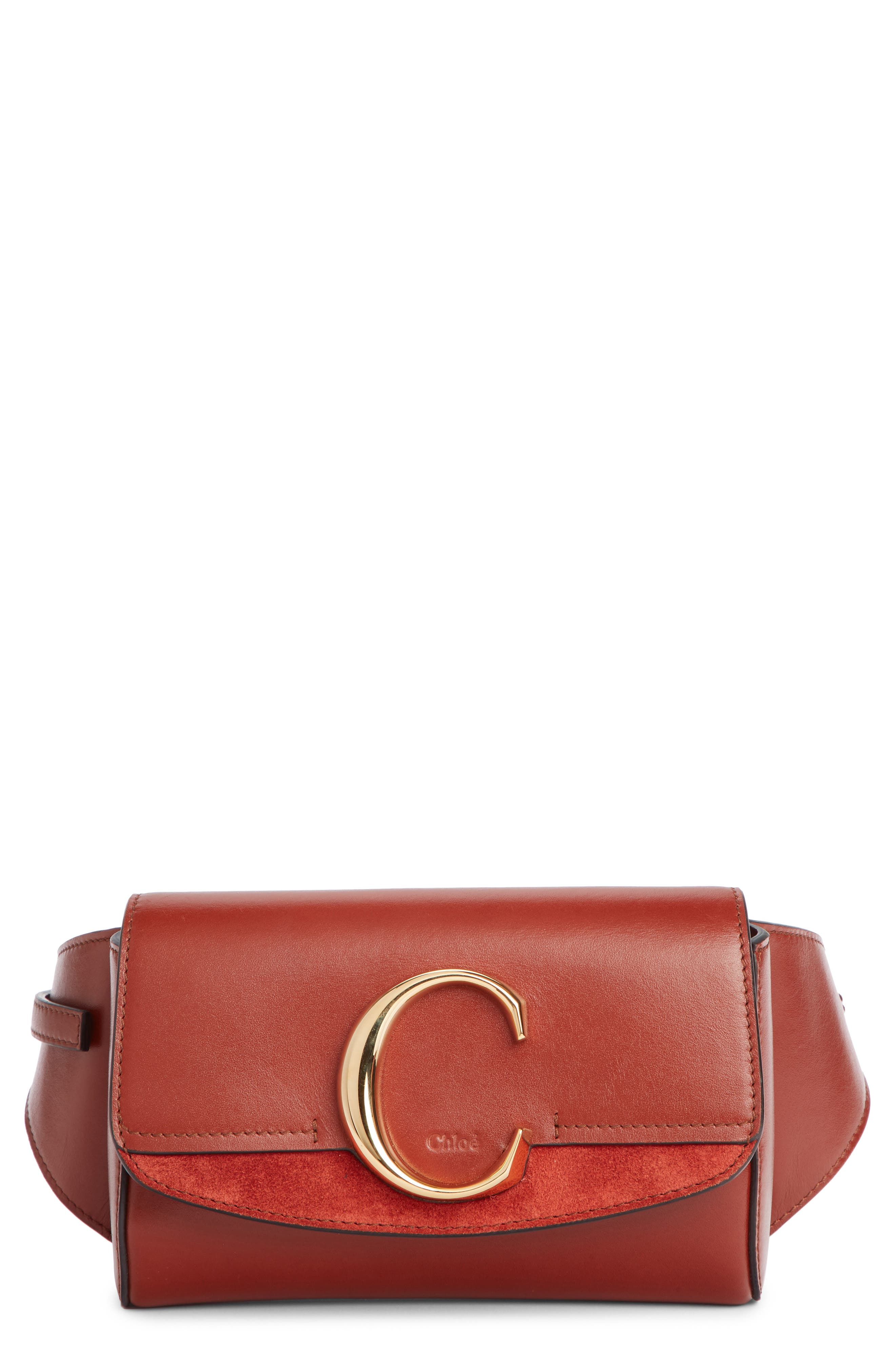 CHLOÉ,                             C Leather Convertible Belt Bag,                             Main thumbnail 1, color,                             SEPIA BROWN