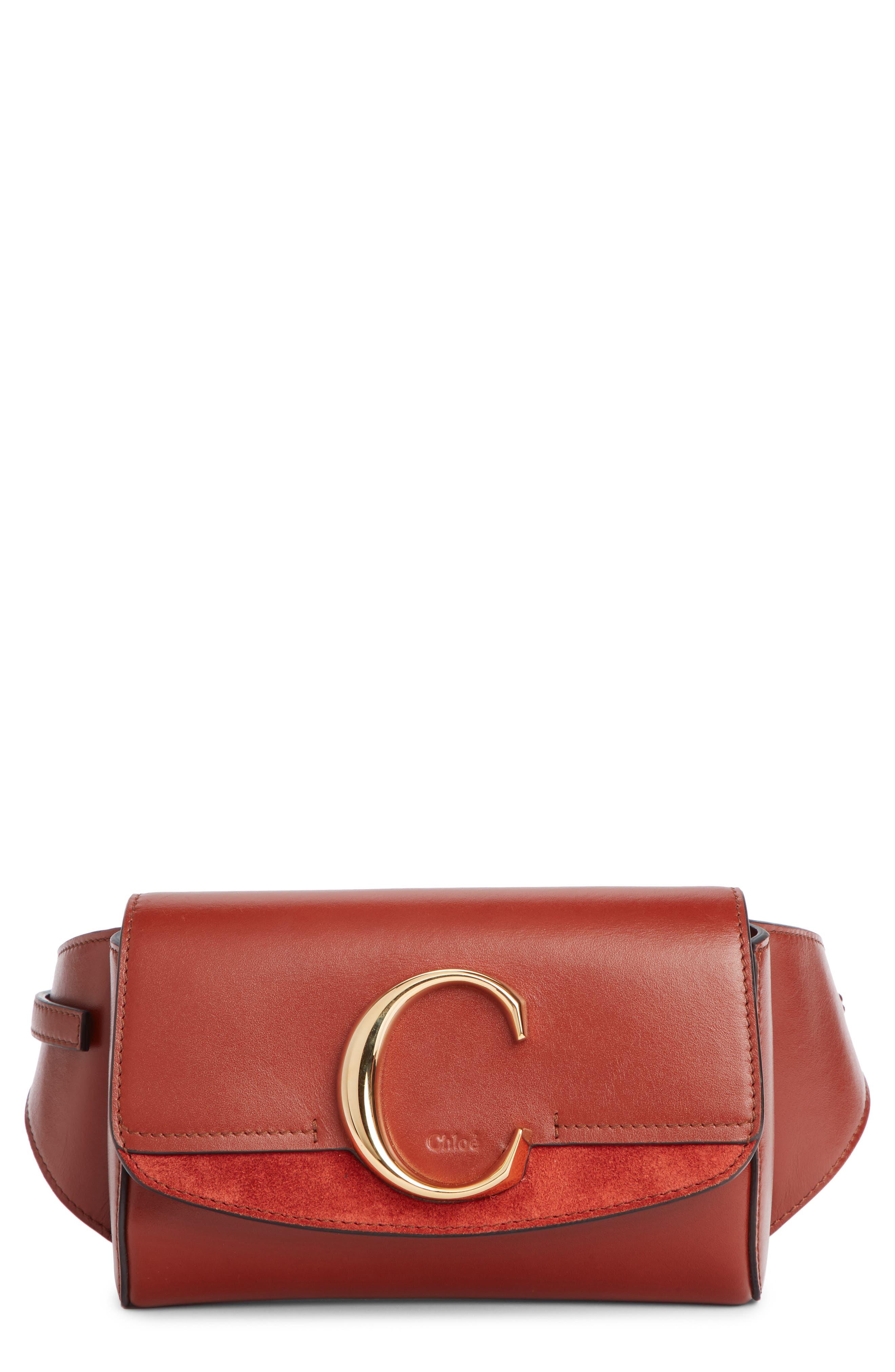 CHLOÉ C Leather Convertible Belt Bag, Main, color, SEPIA BROWN