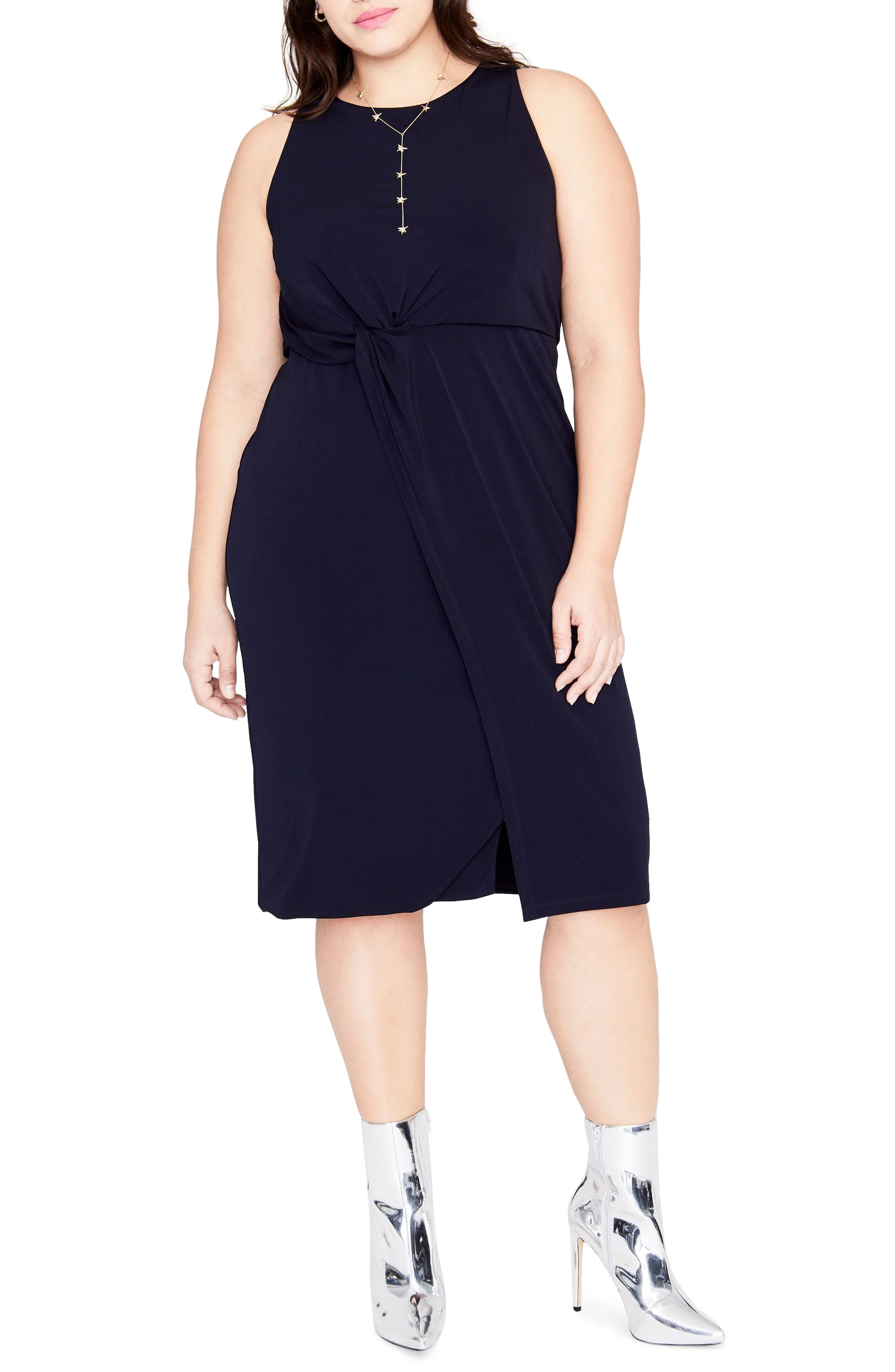 Twist Front Dress,                         Main,                         color, TRUE NAVY